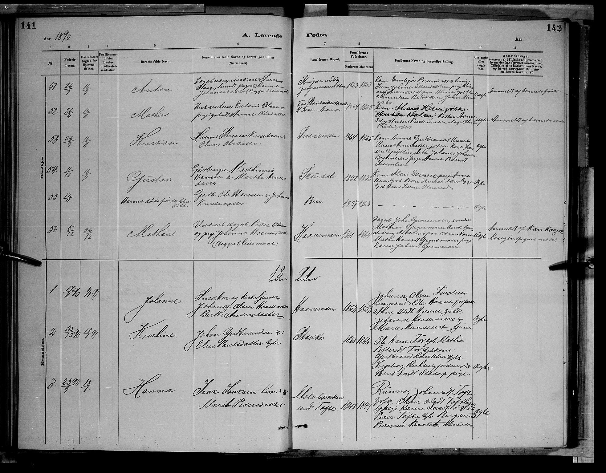 SAH, Sør-Fron prestekontor, H/Ha/Hab/L0003: Klokkerbok nr. 3, 1884-1896, s. 141-142
