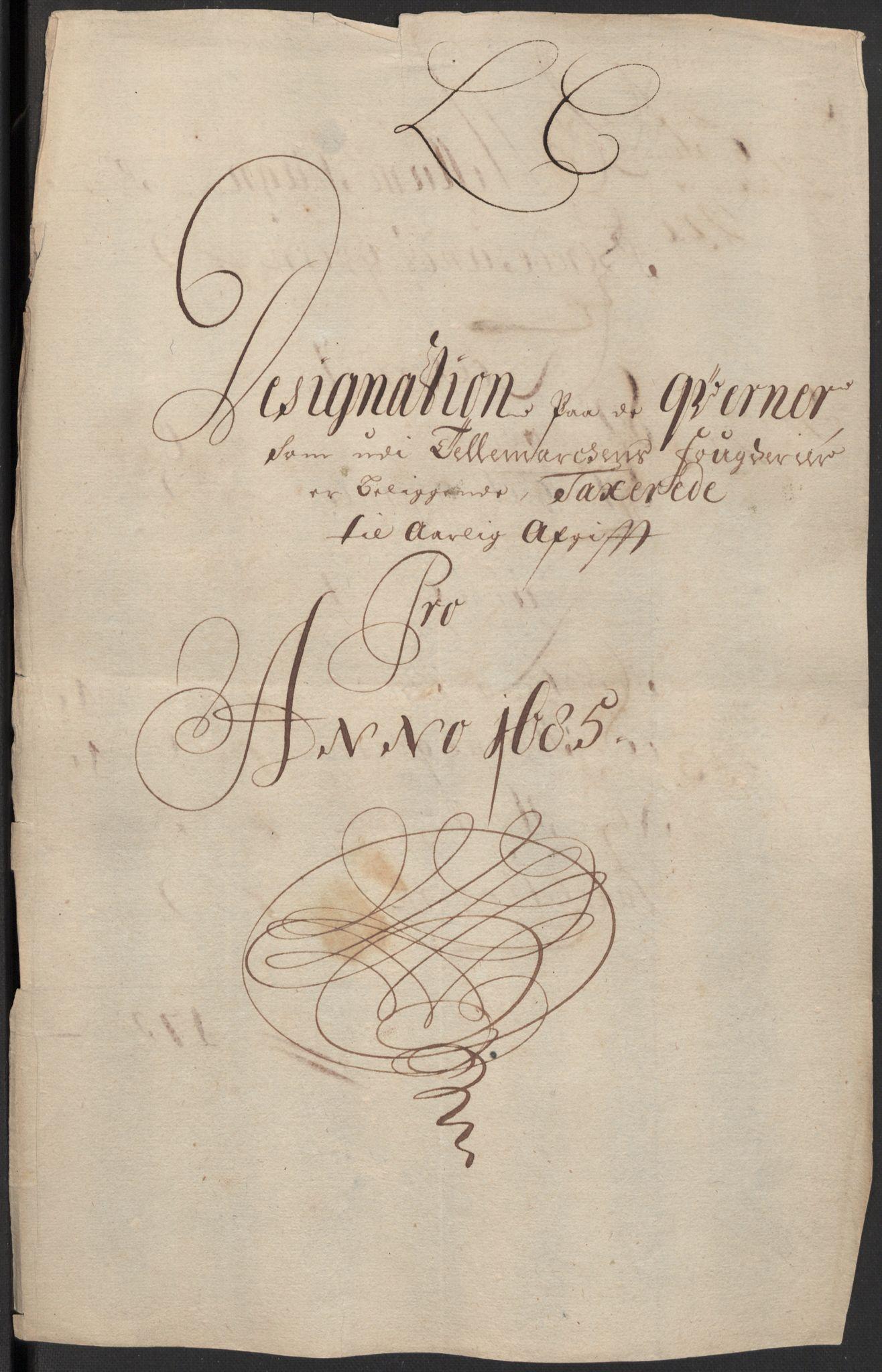 RA, Rentekammeret inntil 1814, Reviderte regnskaper, Fogderegnskap, R35/L2082: Fogderegnskap Øvre og Nedre Telemark, 1685, s. 61