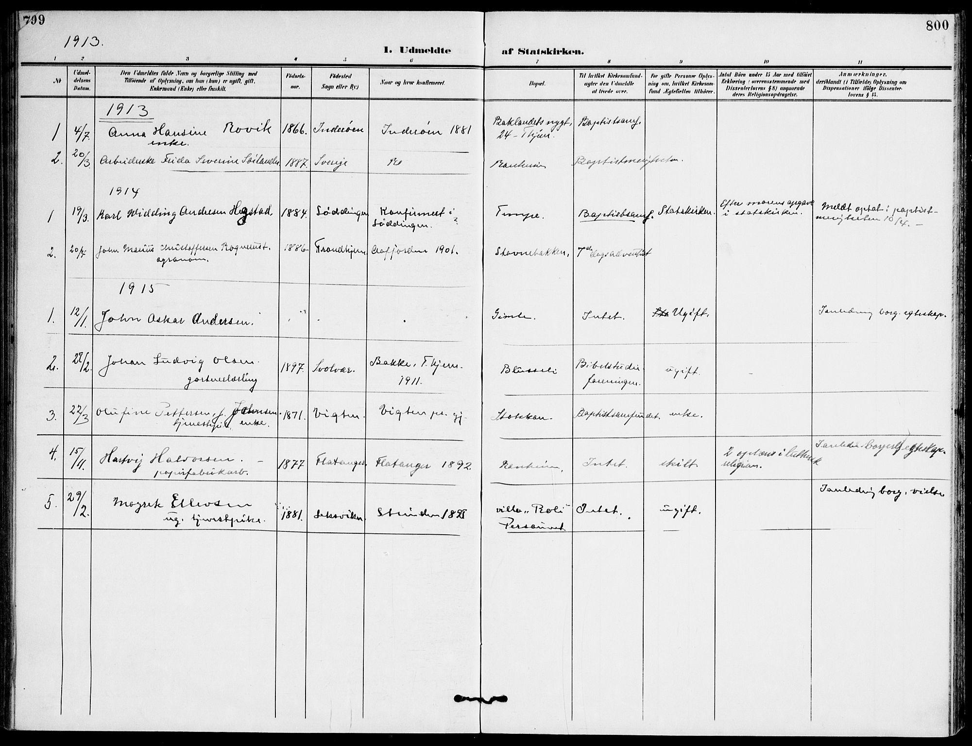 SAT, Ministerialprotokoller, klokkerbøker og fødselsregistre - Sør-Trøndelag, 607/L0320: Ministerialbok nr. 607A04, 1907-1915, s. 799-800