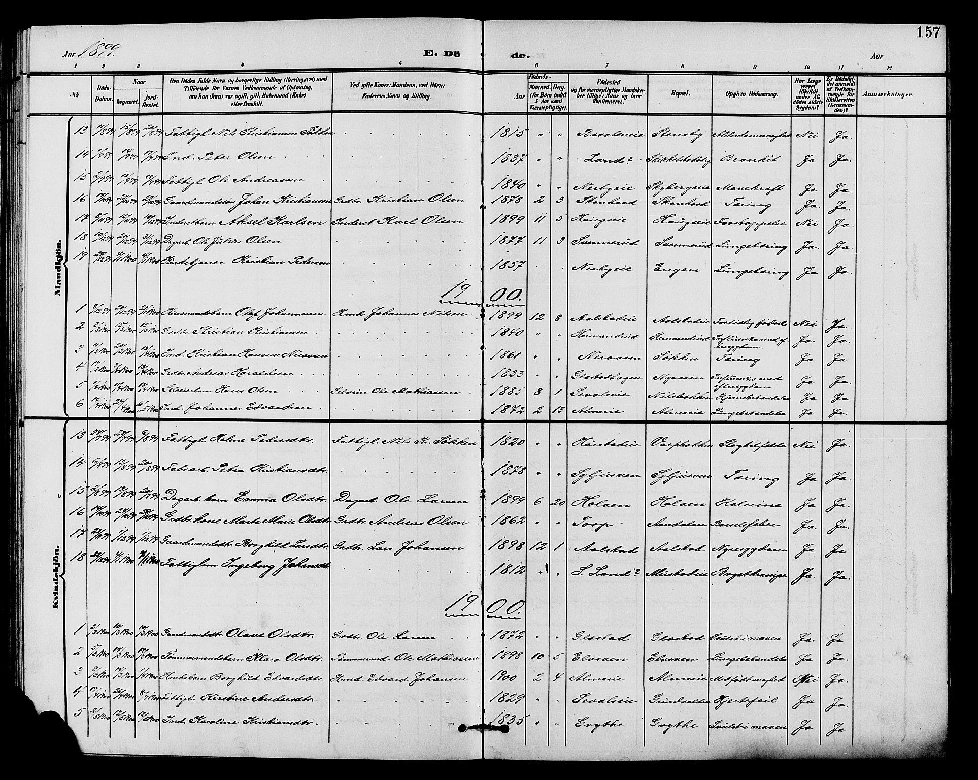 SAH, Vardal prestekontor, H/Ha/Hab/L0011: Klokkerbok nr. 11, 1899-1913, s. 157