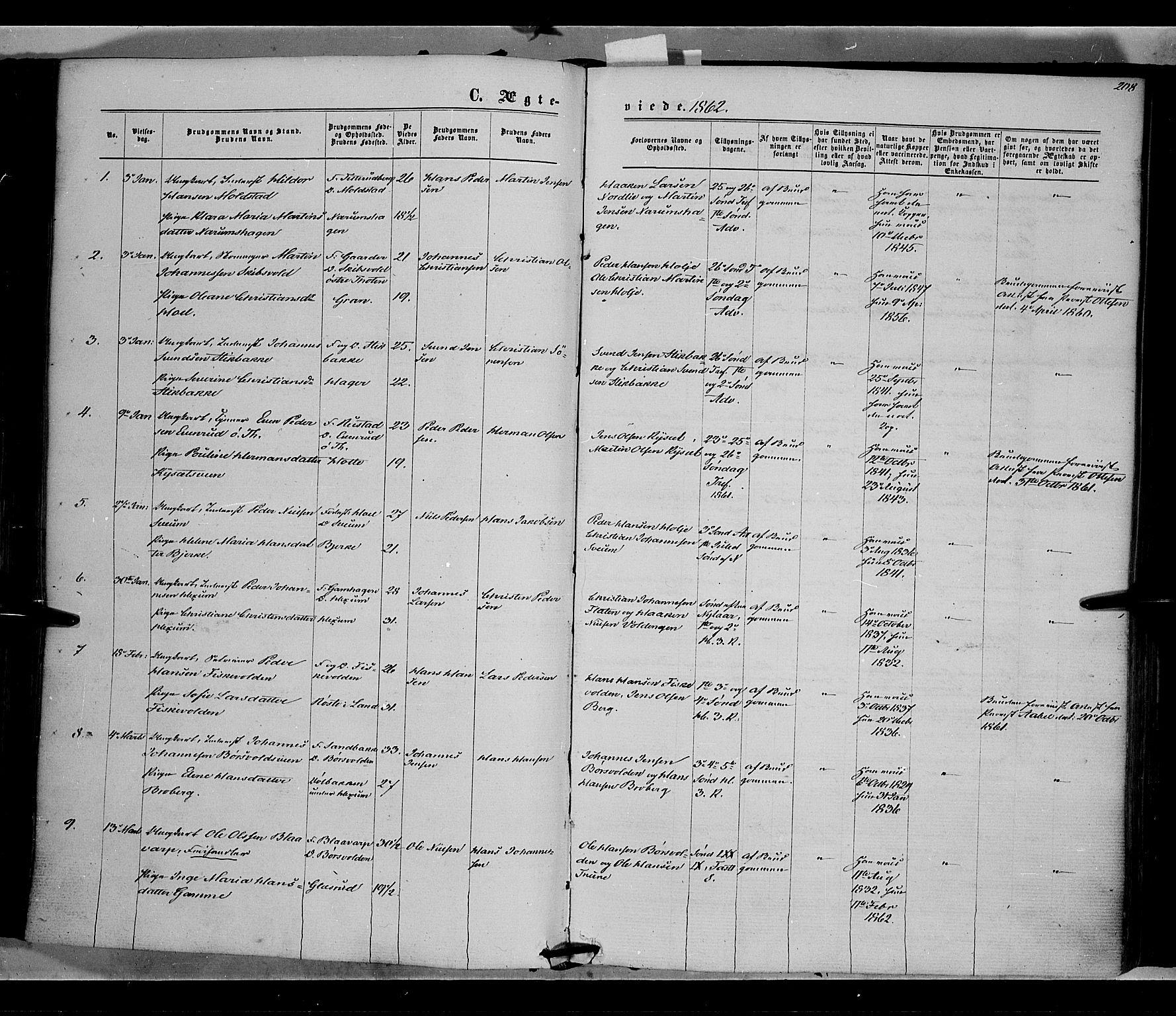 SAH, Vestre Toten prestekontor, H/Ha/Haa/L0007: Ministerialbok nr. 7, 1862-1869, s. 208