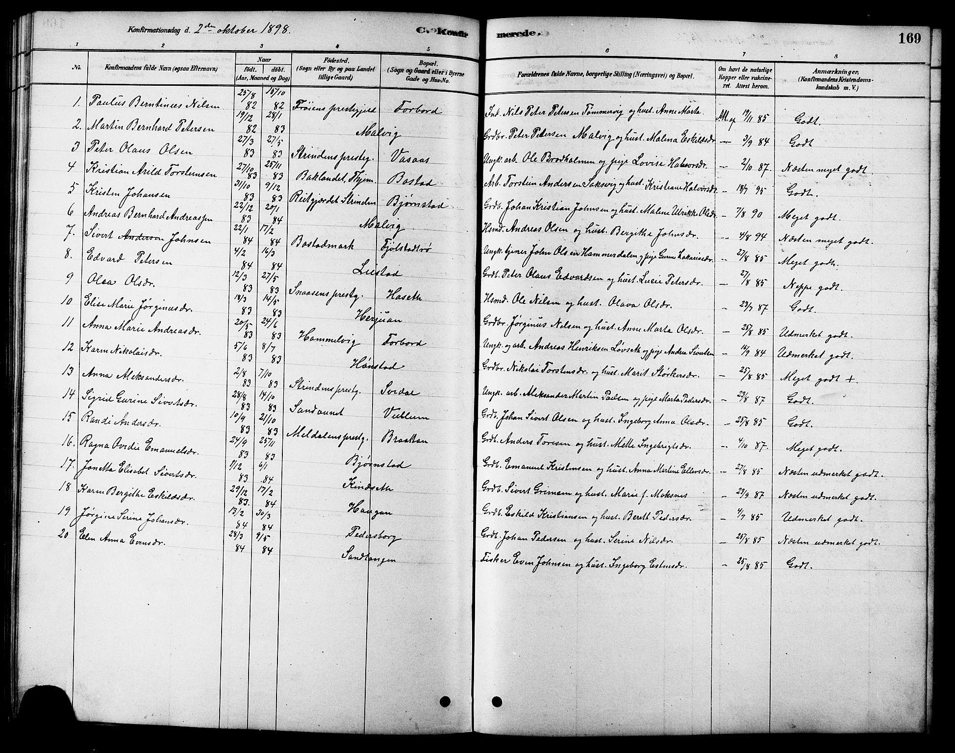 SAT, Ministerialprotokoller, klokkerbøker og fødselsregistre - Sør-Trøndelag, 616/L0423: Klokkerbok nr. 616C06, 1878-1903, s. 169