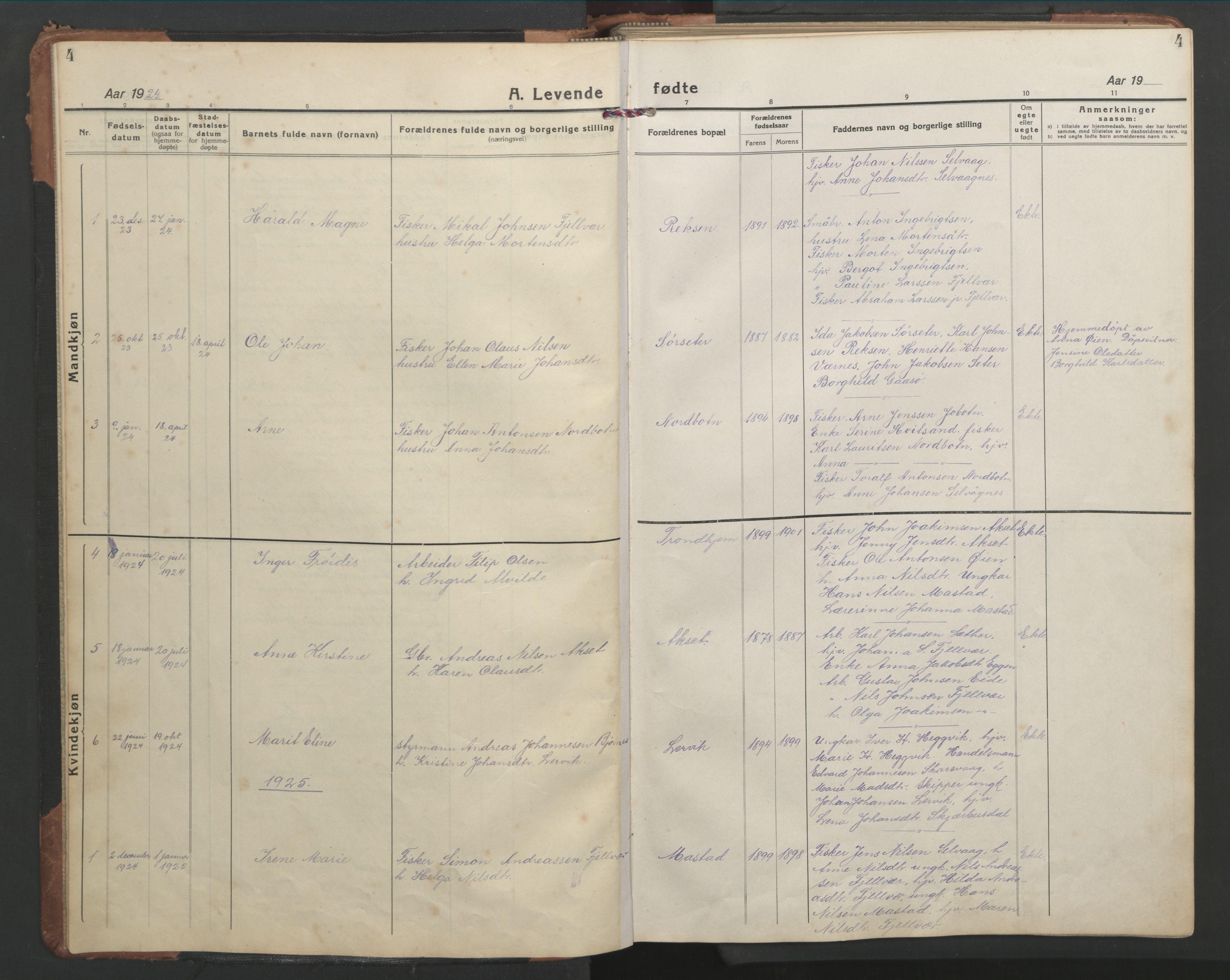 SAT, Ministerialprotokoller, klokkerbøker og fødselsregistre - Sør-Trøndelag, 638/L0569: Klokkerbok nr. 638C01, 1923-1961, s. 4