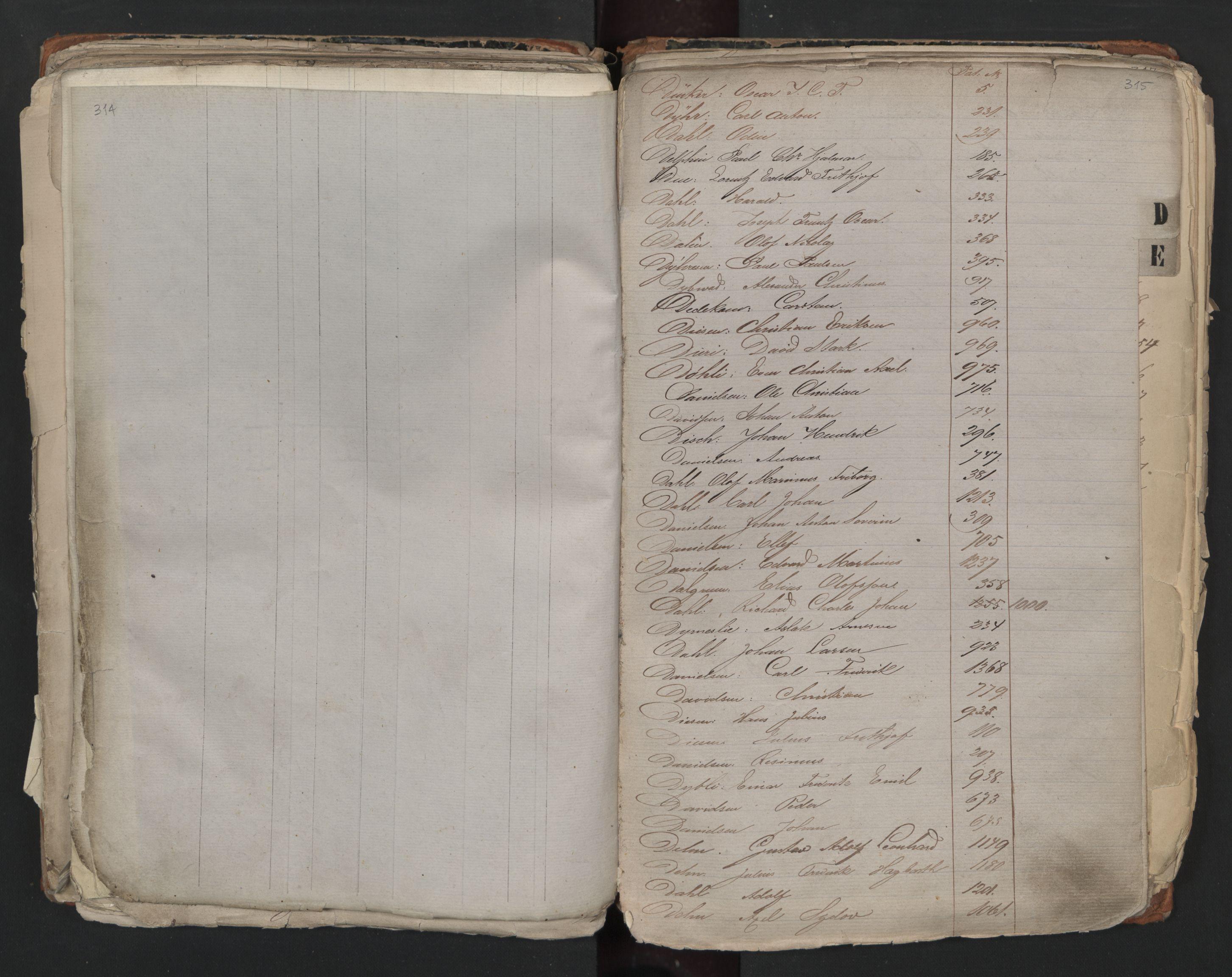 SAO, Oslo sjømannskontor, F/Fa/L0001: Register for Kristiania krets, 1866-1891, s. 314-315