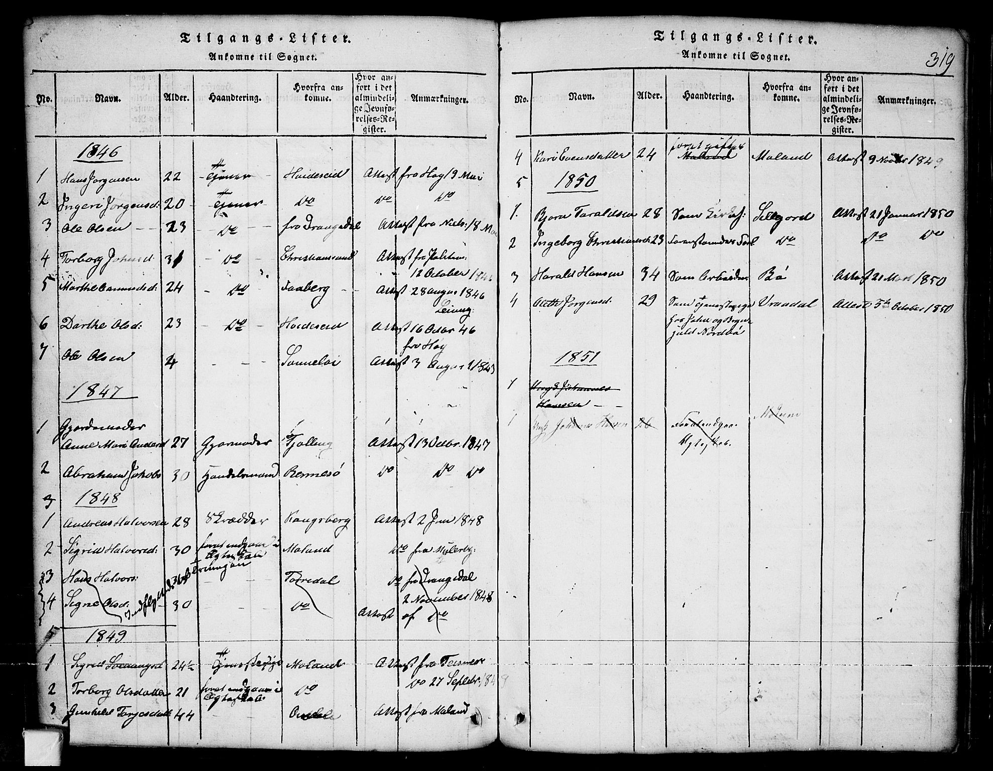 SAKO, Nissedal kirkebøker, G/Ga/L0001: Klokkerbok nr. I 1, 1814-1860, s. 319