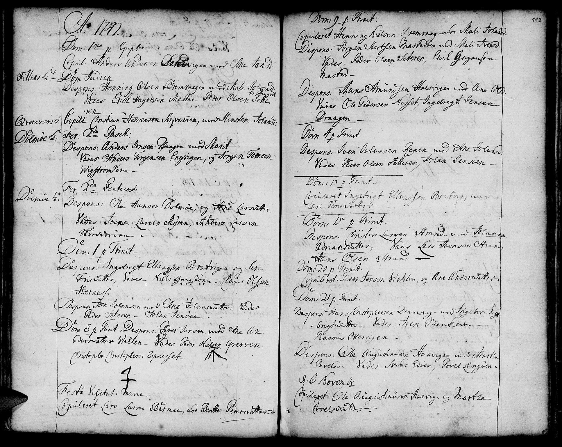 SAT, Ministerialprotokoller, klokkerbøker og fødselsregistre - Sør-Trøndelag, 634/L0525: Ministerialbok nr. 634A01, 1736-1775, s. 112