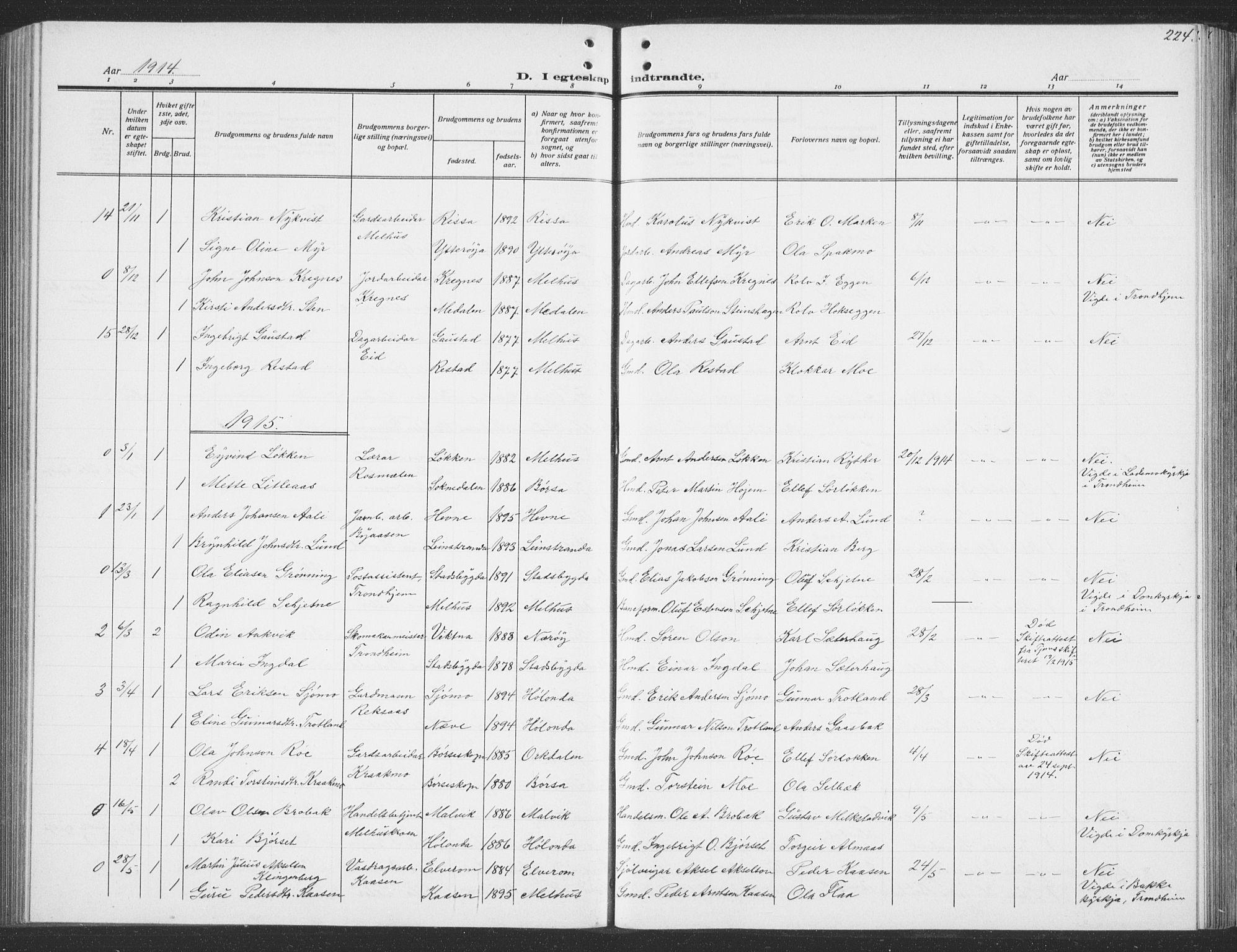 SAT, Ministerialprotokoller, klokkerbøker og fødselsregistre - Sør-Trøndelag, 691/L1095: Klokkerbok nr. 691C06, 1912-1933, s. 224