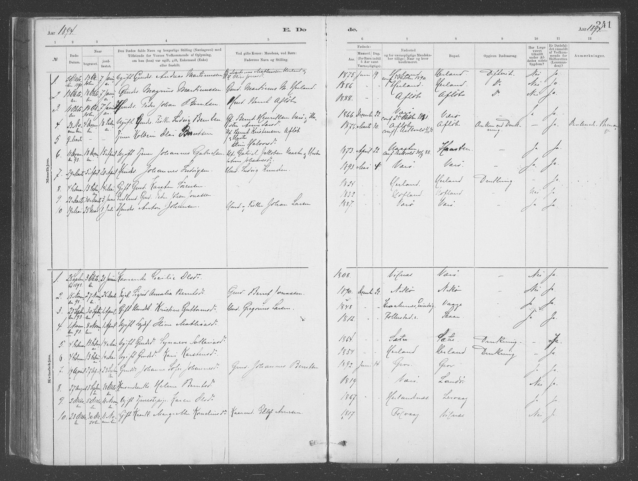 SAB, Askvoll Sokneprestembete, Ministerialbok nr. C  1, 1879-1922, s. 241
