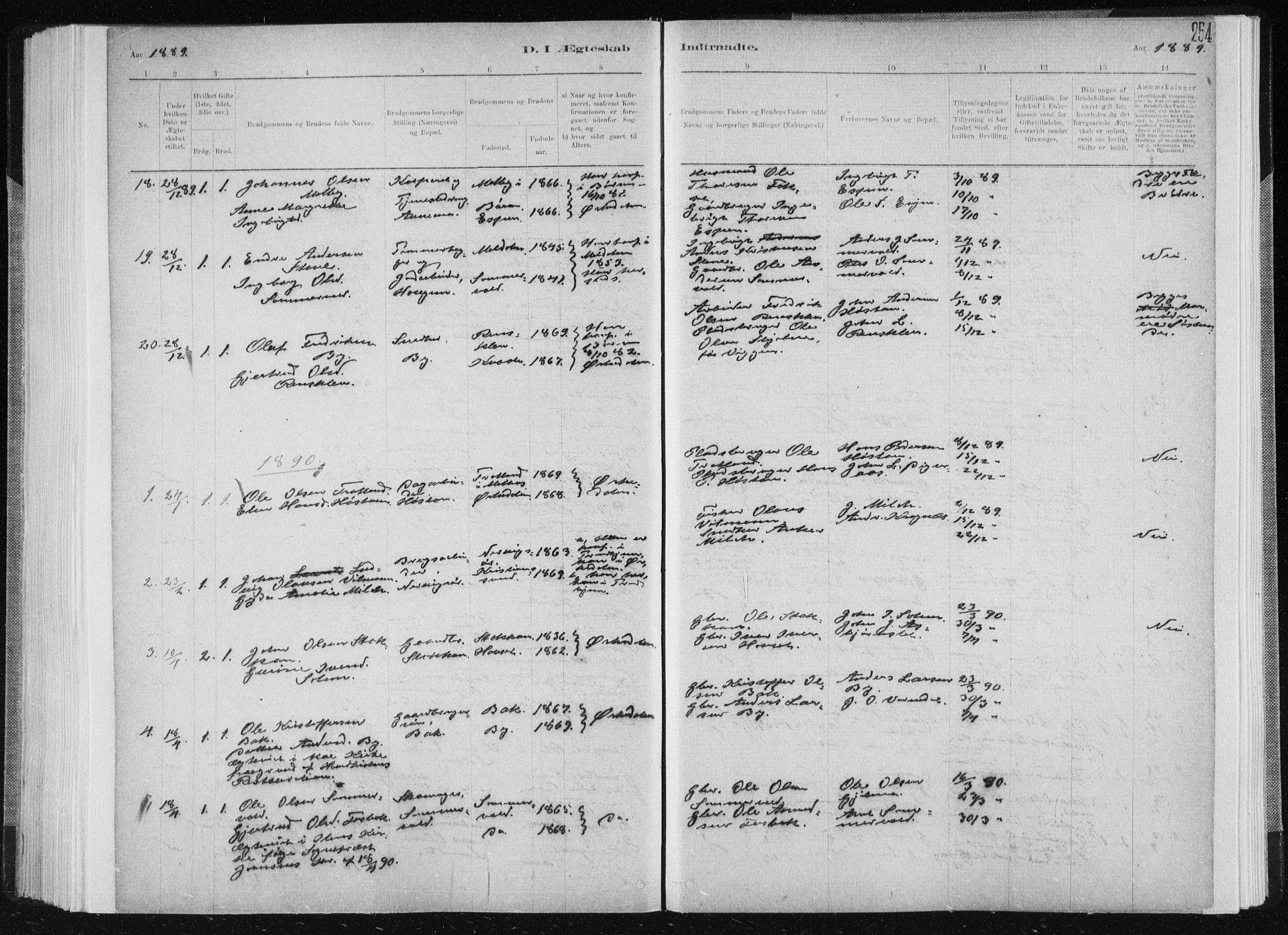 SAT, Ministerialprotokoller, klokkerbøker og fødselsregistre - Sør-Trøndelag, 668/L0818: Klokkerbok nr. 668C07, 1885-1898, s. 254