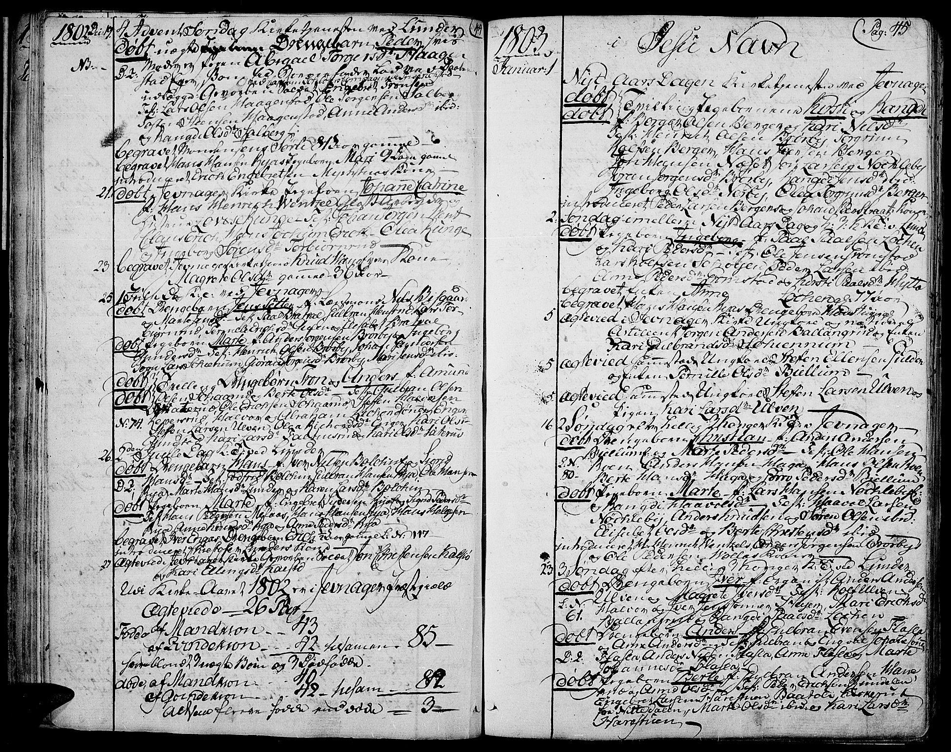 SAH, Jevnaker prestekontor, Ministerialbok nr. 4, 1800-1861, s. 44-45