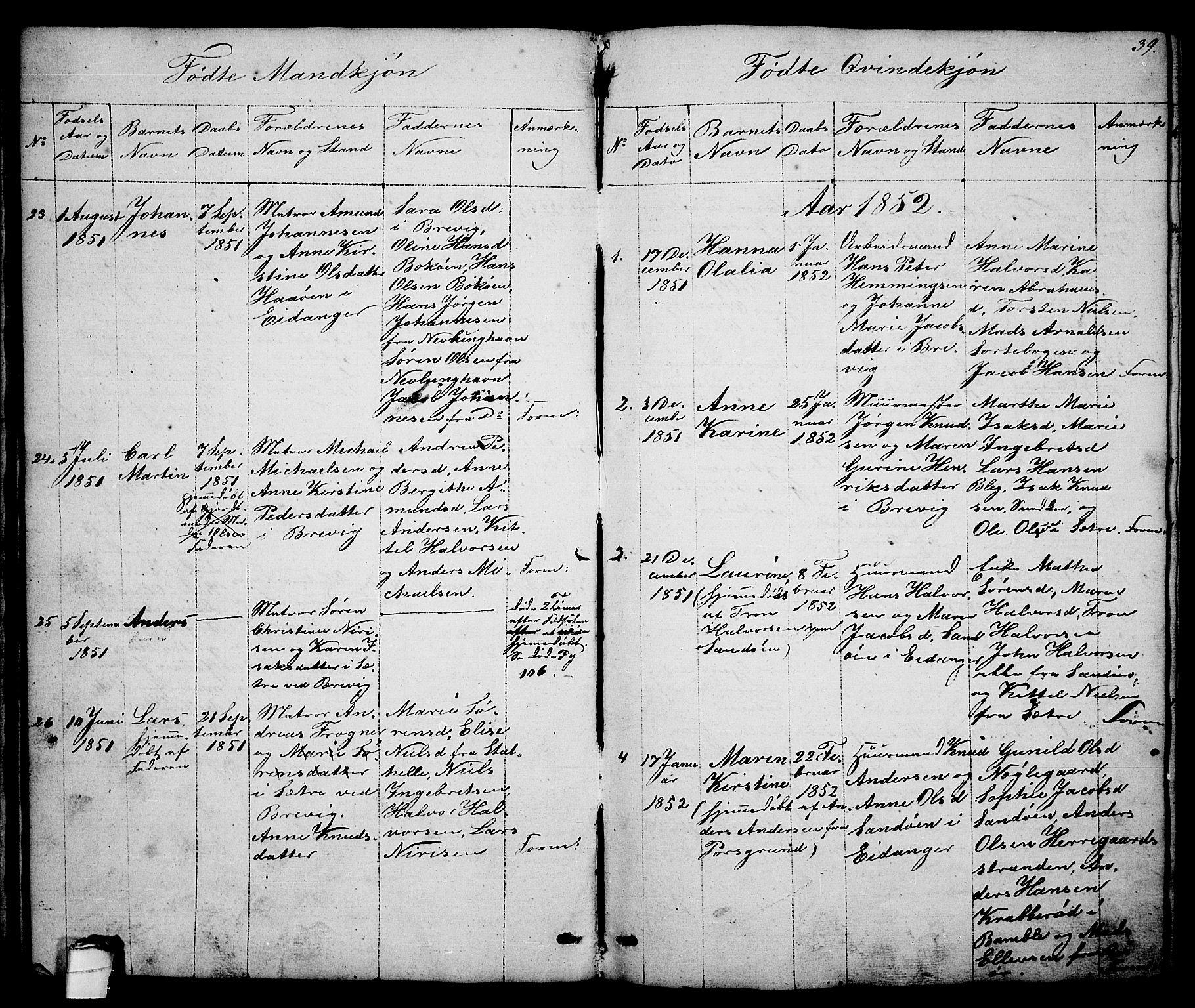 SAKO, Brevik kirkebøker, G/Ga/L0002: Klokkerbok nr. 2, 1846-1865, s. 39