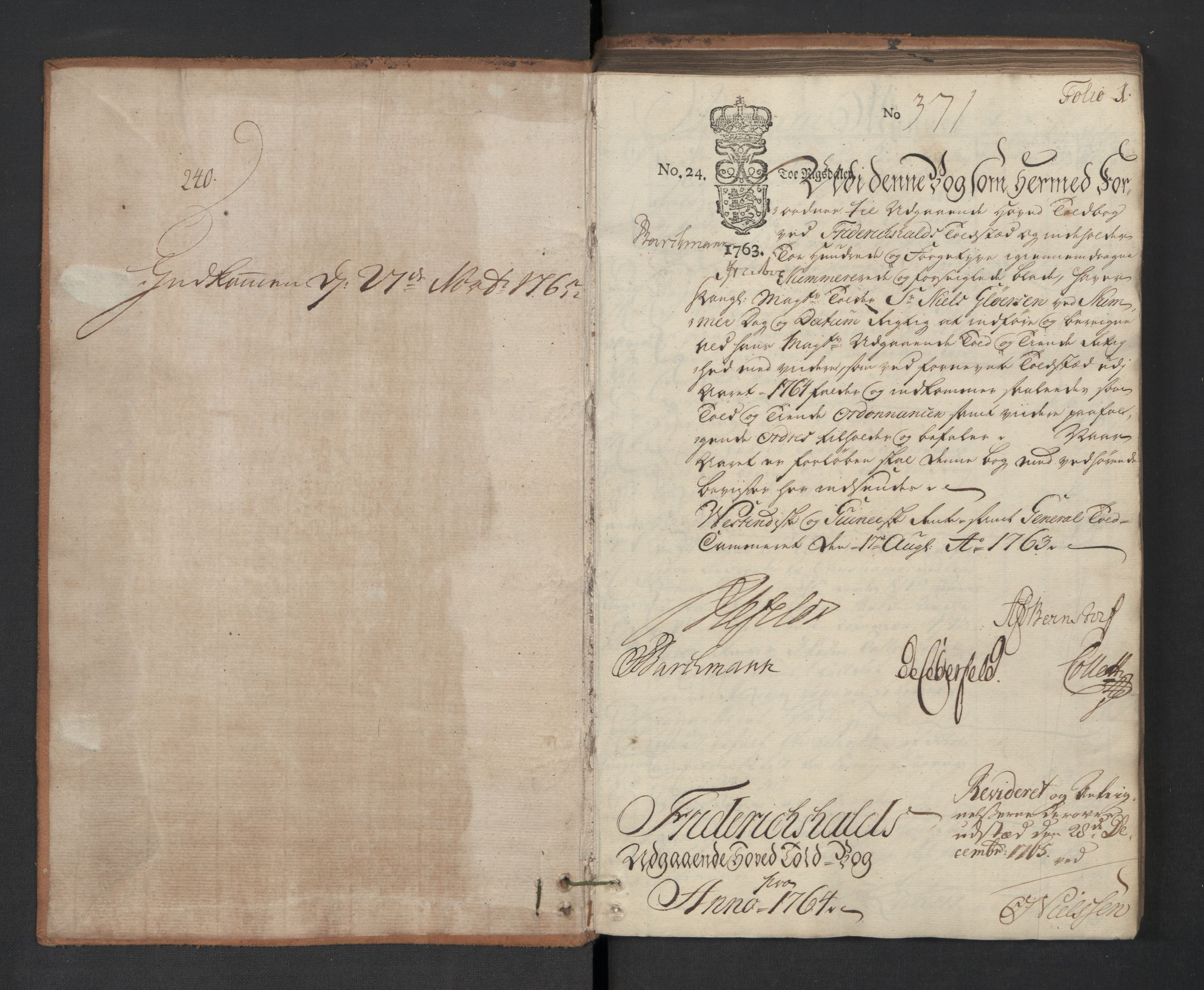 RA, Generaltollkammeret, tollregnskaper, R01/L0053: Tollregnskaper Fredrikshald, 1764