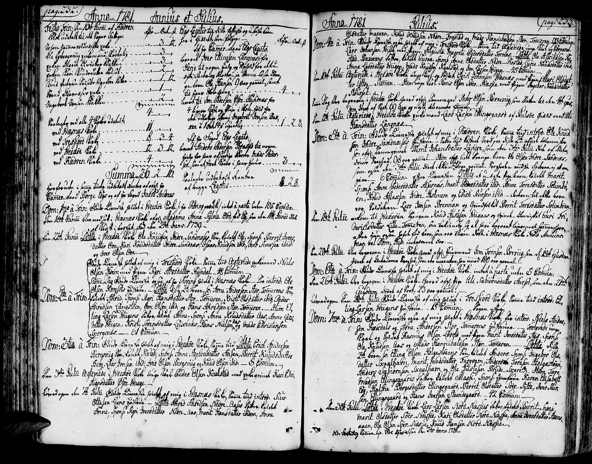 SAT, Ministerialprotokoller, klokkerbøker og fødselsregistre - Møre og Romsdal, 547/L0600: Ministerialbok nr. 547A02, 1765-1799, s. 232-233