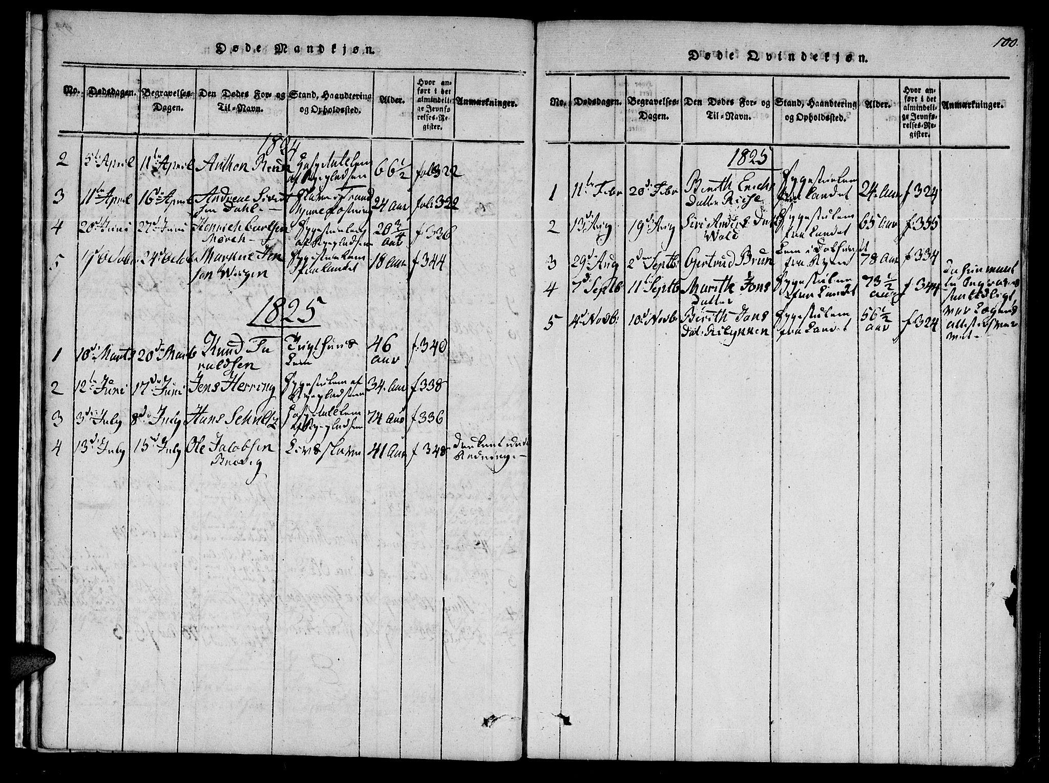 SAT, Ministerialprotokoller, klokkerbøker og fødselsregistre - Sør-Trøndelag, 623/L0467: Ministerialbok nr. 623A01, 1815-1825, s. 100