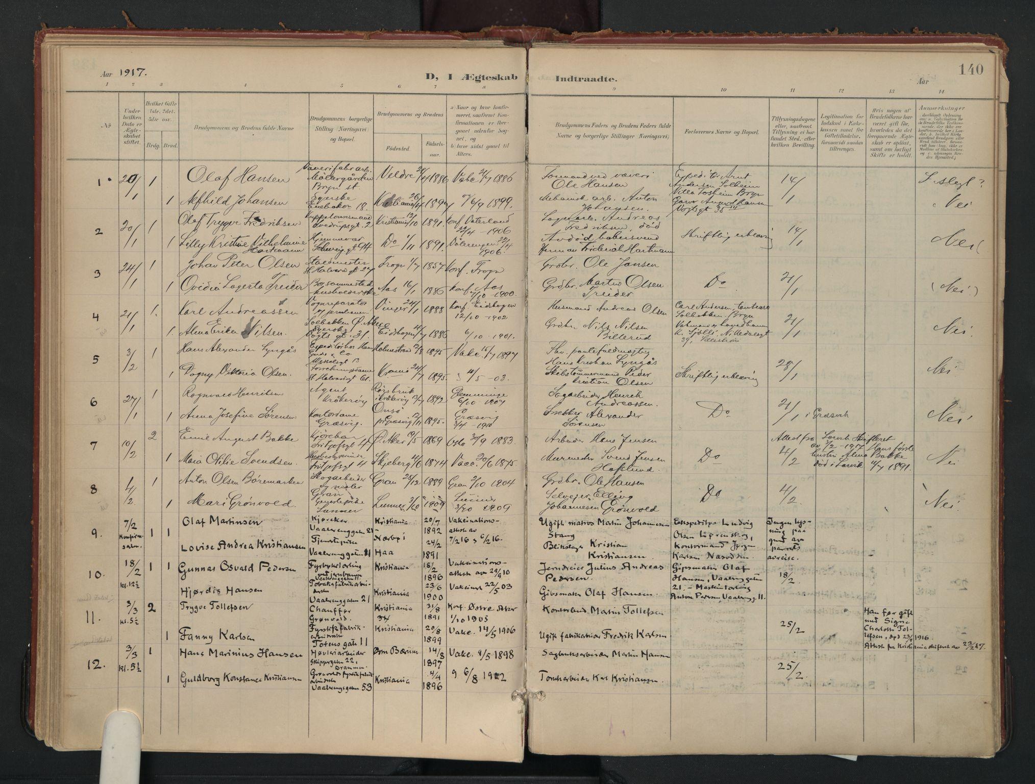 SAO, Vålerengen prestekontor Kirkebøker, F/Fa/L0002: Ministerialbok nr. 2, 1899-1924, s. 140