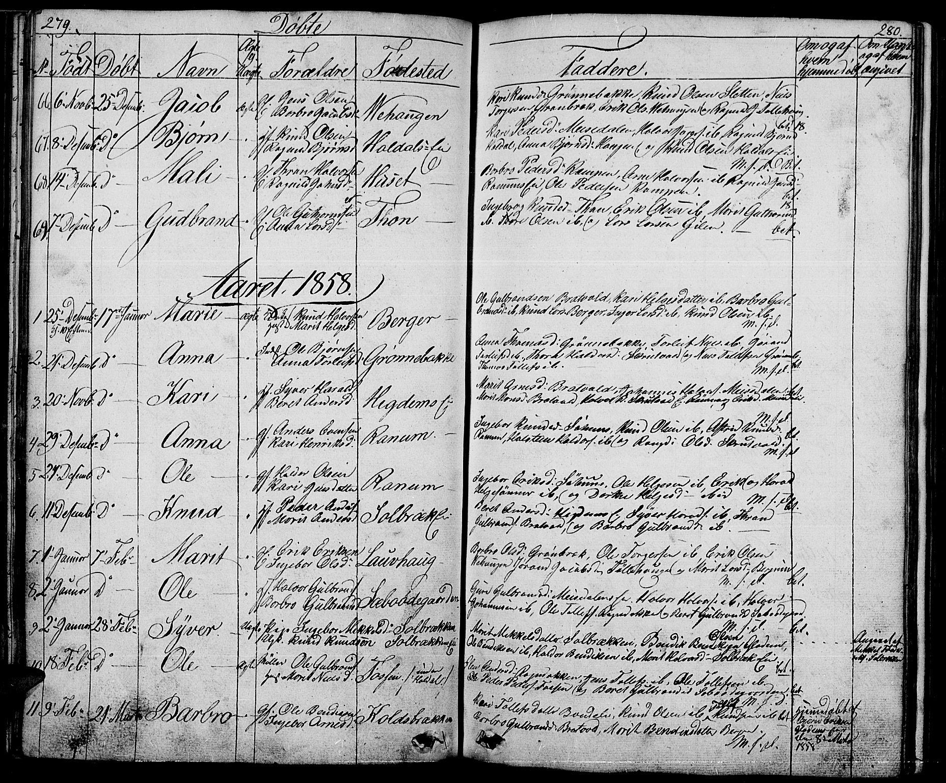 SAH, Nord-Aurdal prestekontor, Klokkerbok nr. 1, 1834-1887, s. 279-280