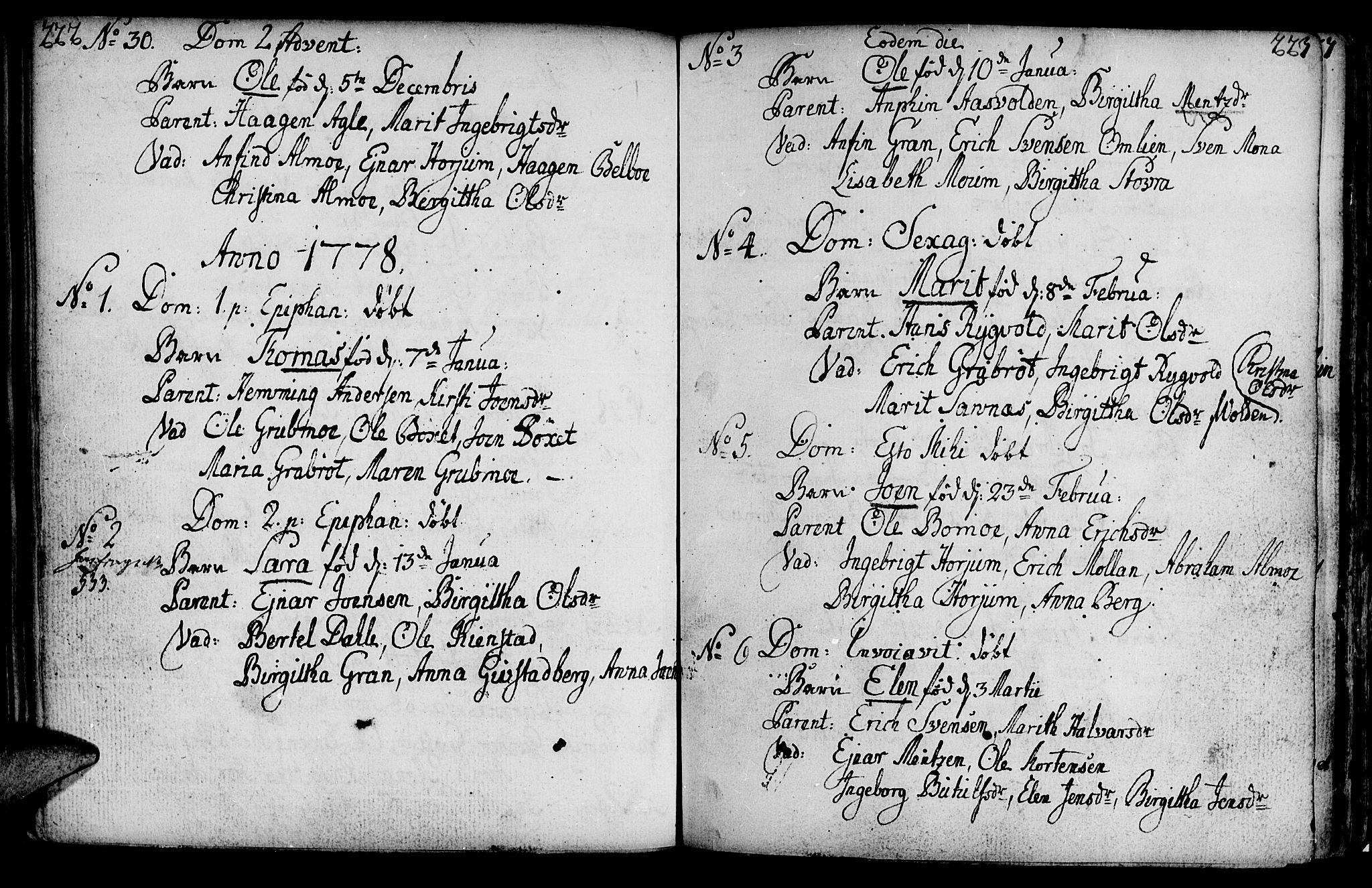 SAT, Ministerialprotokoller, klokkerbøker og fødselsregistre - Nord-Trøndelag, 749/L0467: Ministerialbok nr. 749A01, 1733-1787, s. 222-223