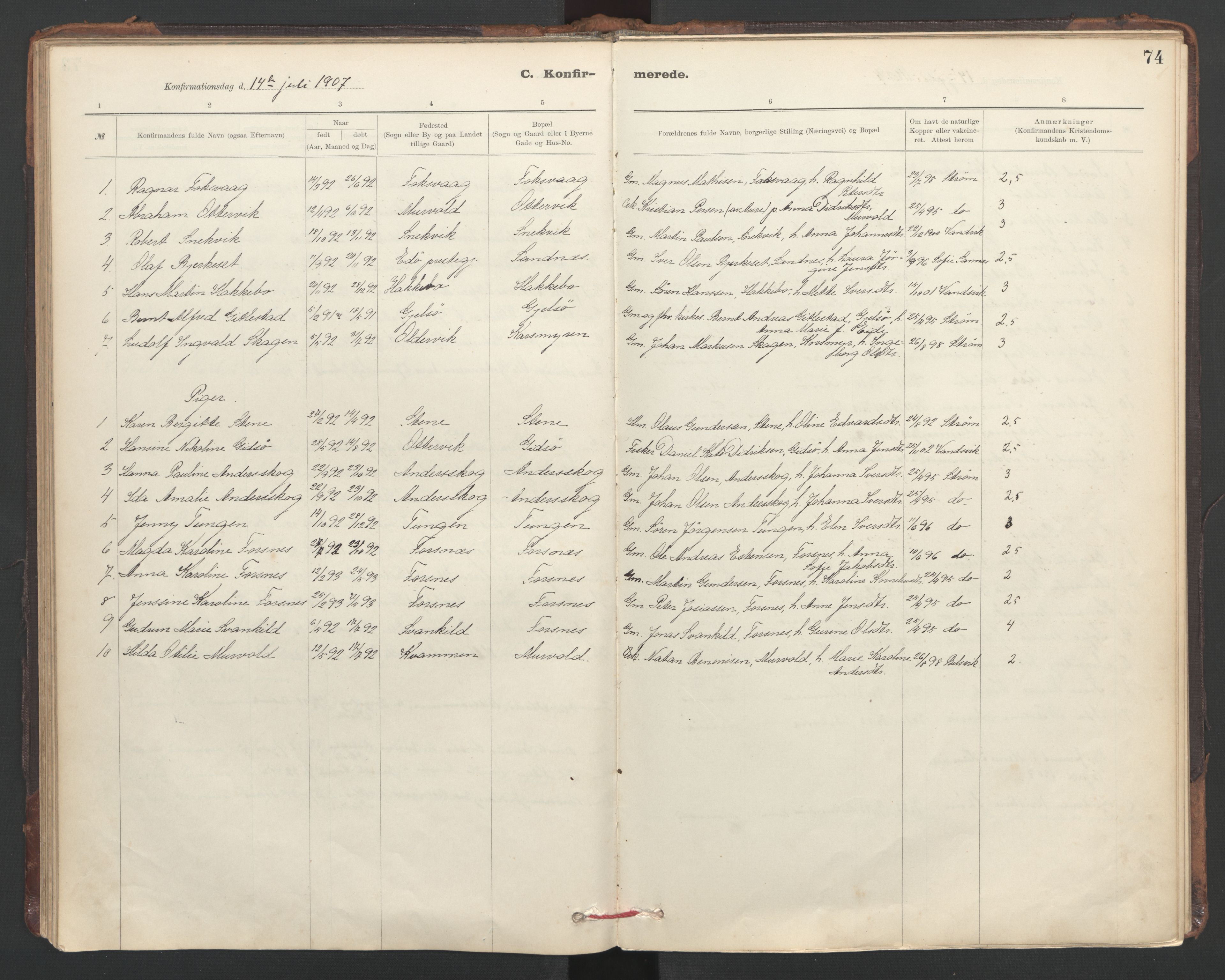 SAT, Ministerialprotokoller, klokkerbøker og fødselsregistre - Sør-Trøndelag, 635/L0552: Ministerialbok nr. 635A02, 1899-1919, s. 74