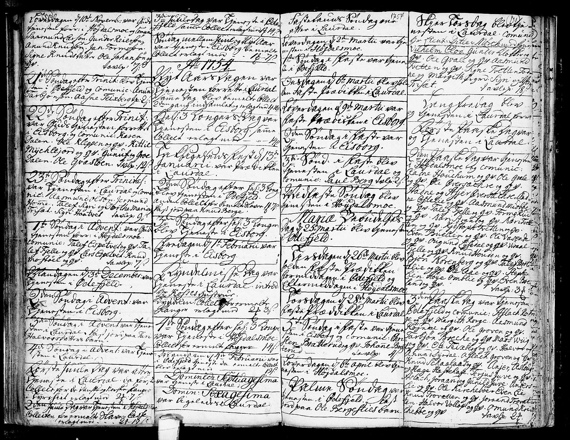 SAKO, Lårdal kirkebøker, F/Fa/L0002: Ministerialbok nr. I 2, 1734-1754, s. 130-131