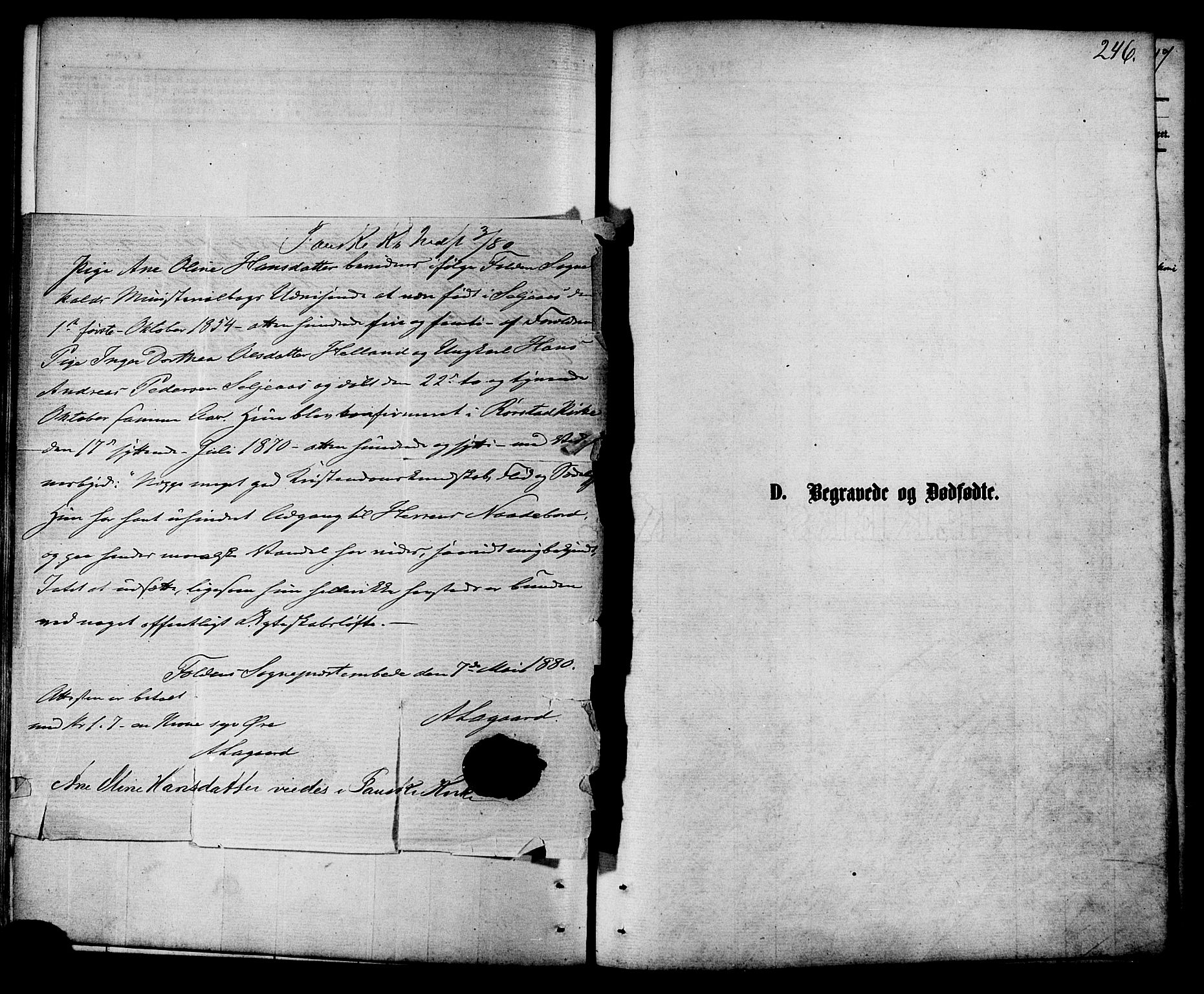 SAT, Ministerialprotokoller, klokkerbøker og fødselsregistre - Nordland, 853/L0771: Ministerialbok nr. 853A10, 1870-1881, s. 246
