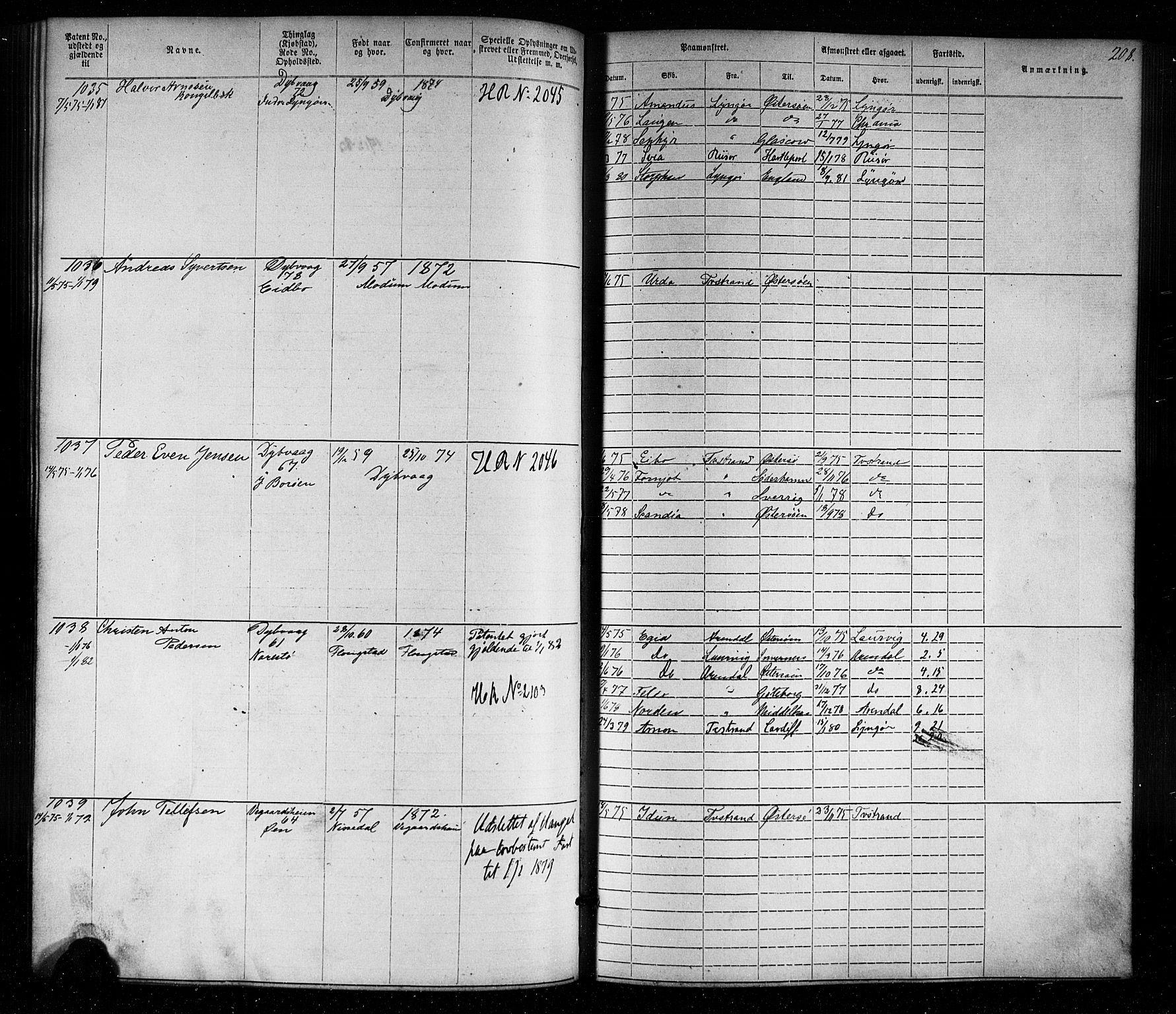 SAK, Tvedestrand mønstringskrets, F/Fa/L0003: Annotasjonsrulle nr 1-1905 med register, U-25, 1866-1886, s. 231