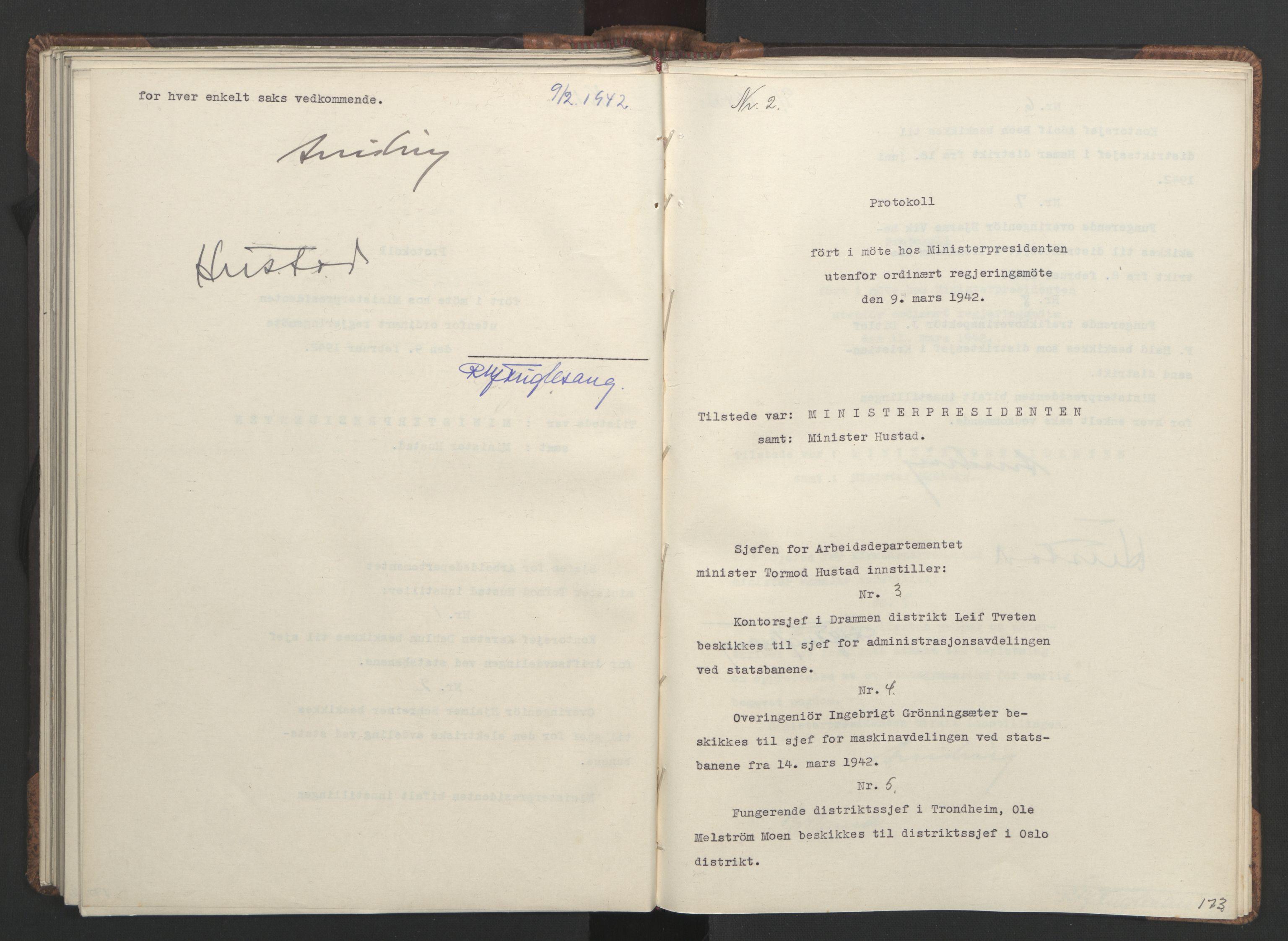 RA, NS-administrasjonen 1940-1945 (Statsrådsekretariatet, de kommisariske statsråder mm), D/Da/L0001: Beslutninger og tillegg (1-952 og 1-32), 1942, s. 172b-173a