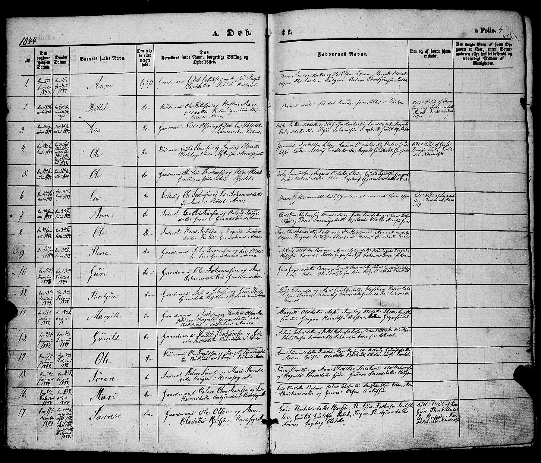 SAKO, Hjartdal kirkebøker, F/Fa/L0008: Ministerialbok nr. I 8, 1844-1859, s. 4