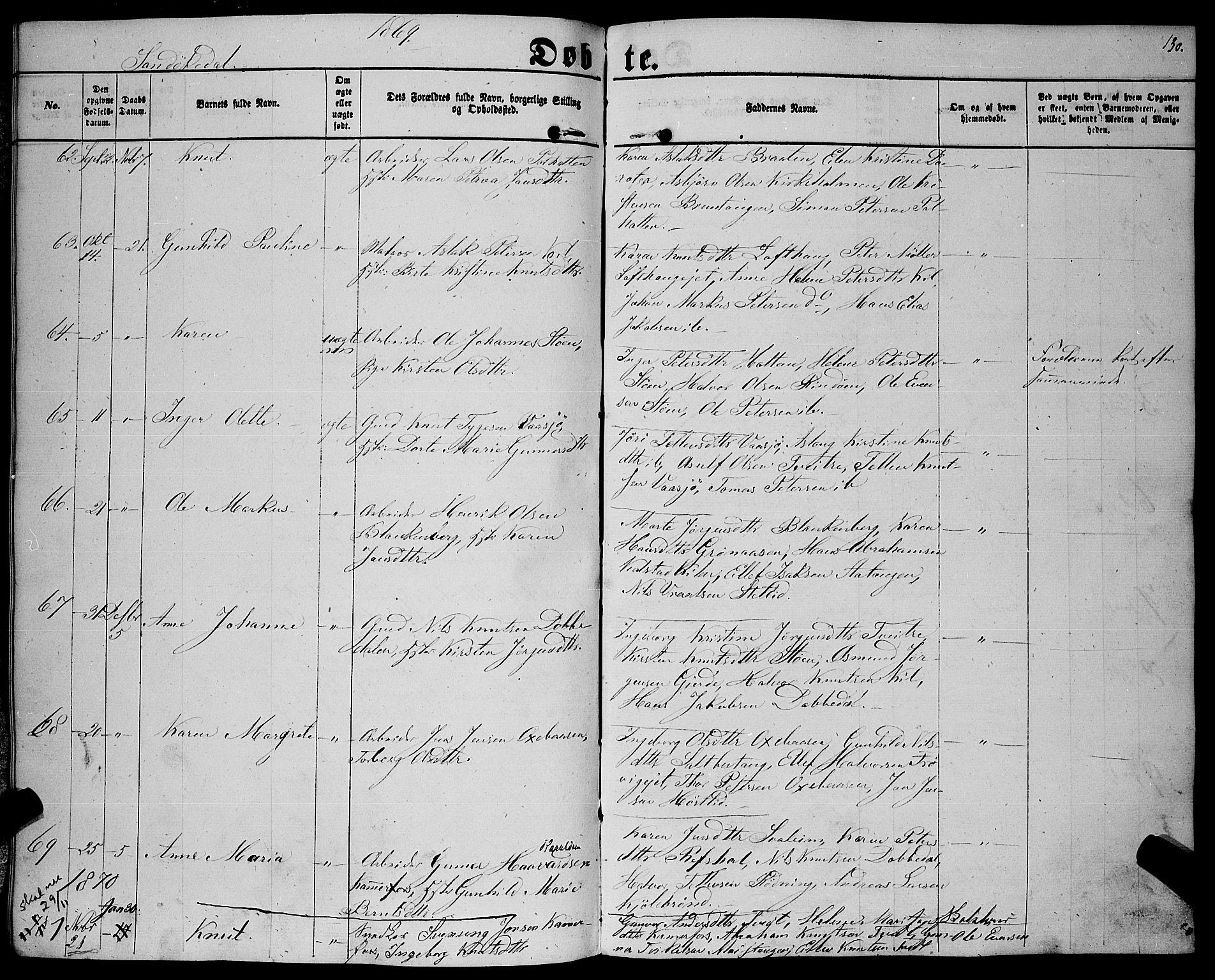 SAKO, Sannidal kirkebøker, F/Fa/L0011: Ministerialbok nr. 11, 1863-1873, s. 130