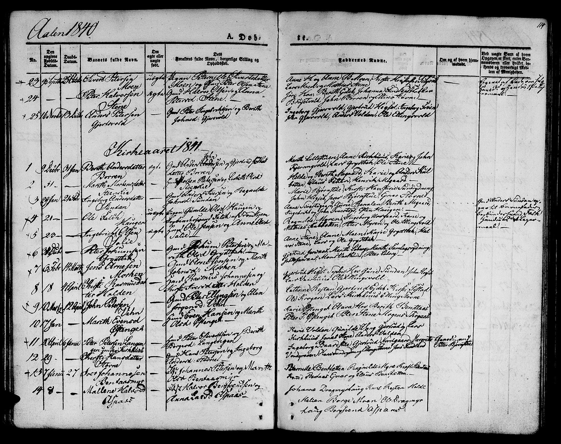 SAT, Ministerialprotokoller, klokkerbøker og fødselsregistre - Sør-Trøndelag, 685/L0959: Ministerialbok nr. 685A04 /3, 1829-1845, s. 114