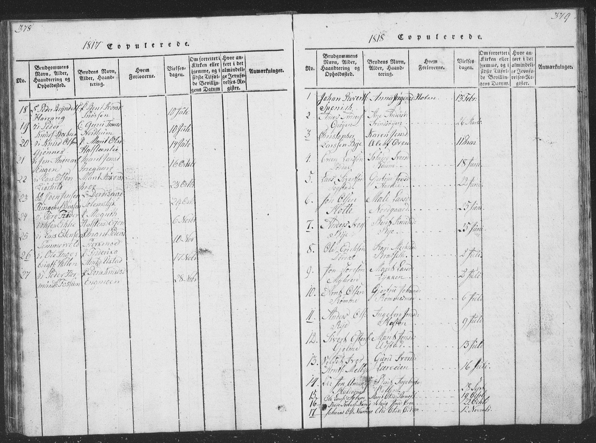 SAT, Ministerialprotokoller, klokkerbøker og fødselsregistre - Sør-Trøndelag, 668/L0816: Klokkerbok nr. 668C05, 1816-1893, s. 378-379