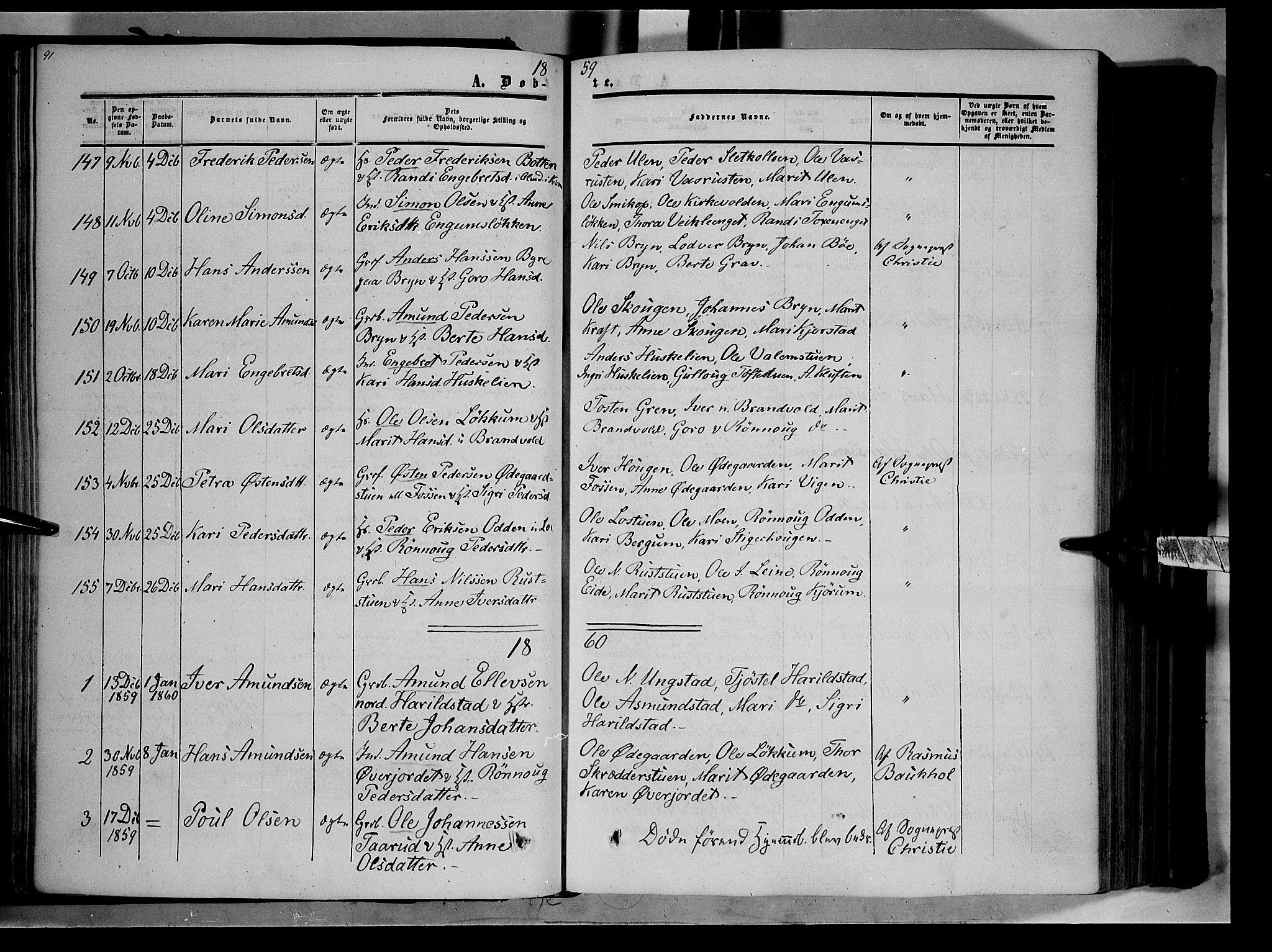 SAH, Nord-Fron prestekontor, Ministerialbok nr. 1, 1851-1864, s. 91