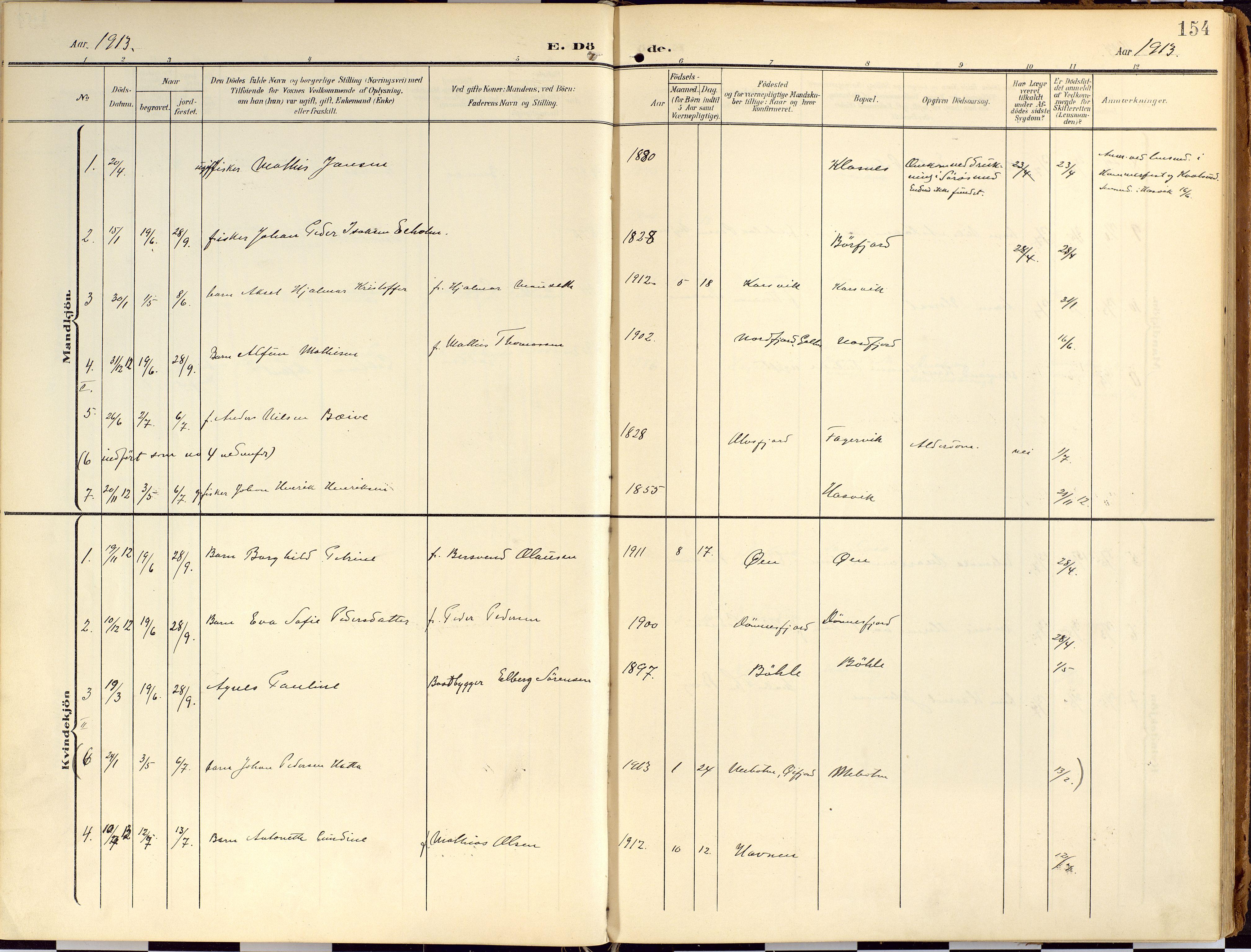 SATØ, Loppa sokneprestkontor, H/Ha/L0010kirke: Ministerialbok nr. 10, 1907-1922, s. 154