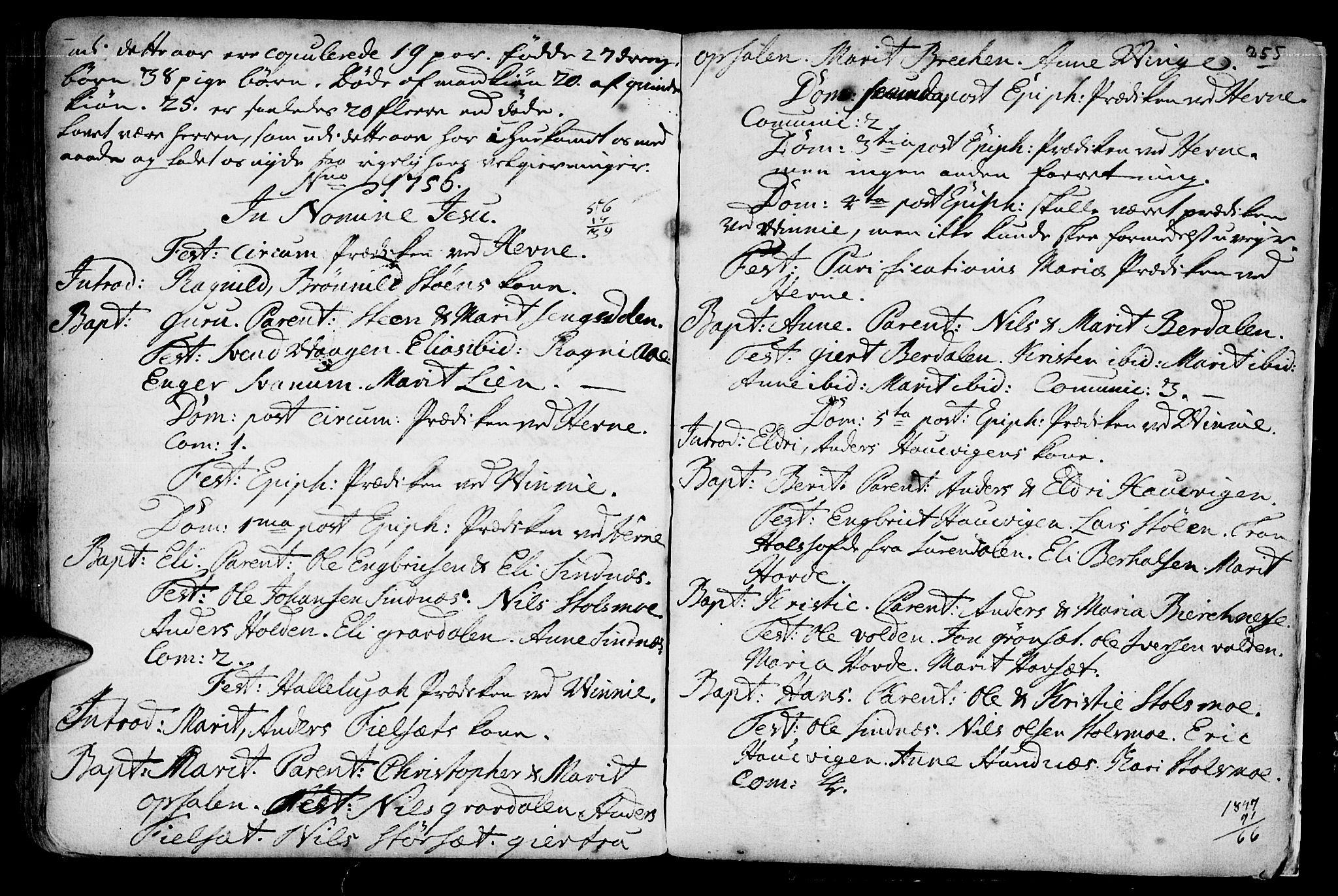 SAT, Ministerialprotokoller, klokkerbøker og fødselsregistre - Sør-Trøndelag, 630/L0488: Ministerialbok nr. 630A01, 1717-1756, s. 254-255