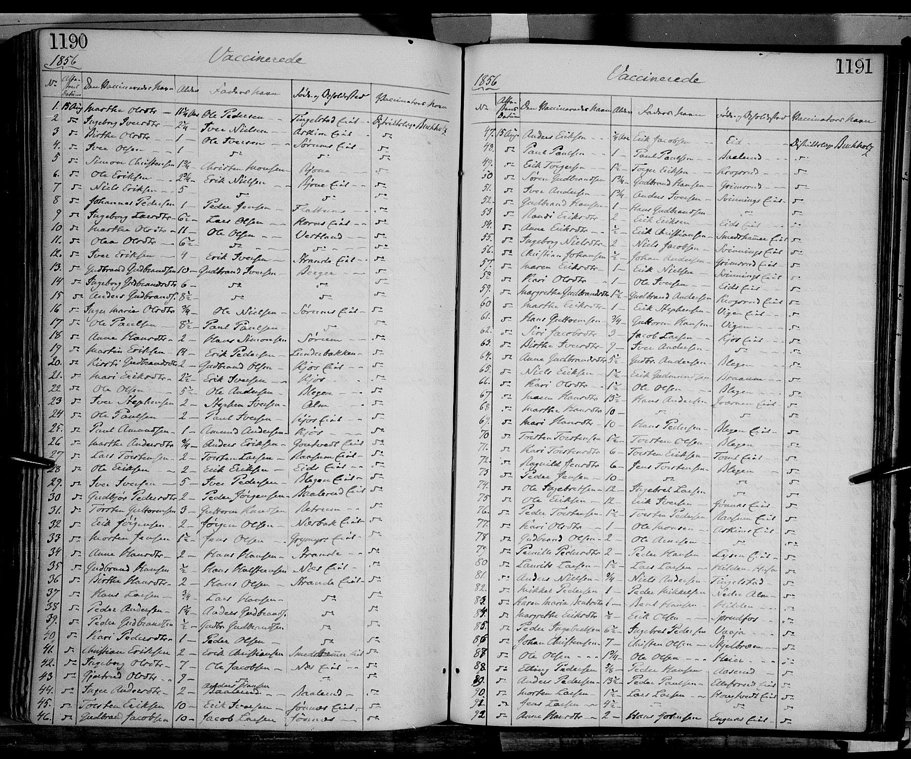 SAH, Gran prestekontor, Ministerialbok nr. 12, 1856-1874, s. 1190-1191