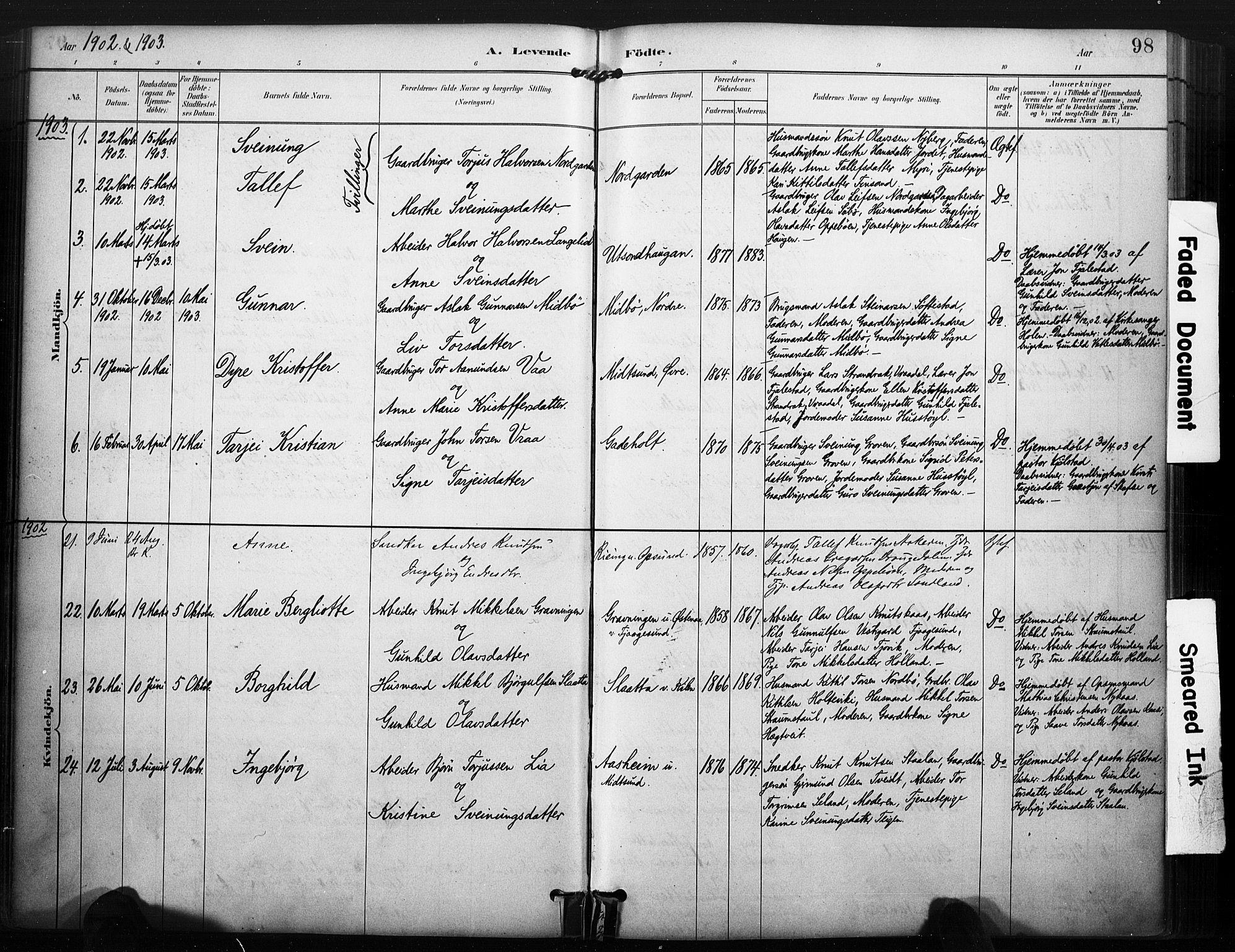 SAKO, Kviteseid kirkebøker, F/Fa/L0008: Ministerialbok nr. I 8, 1882-1903, s. 98