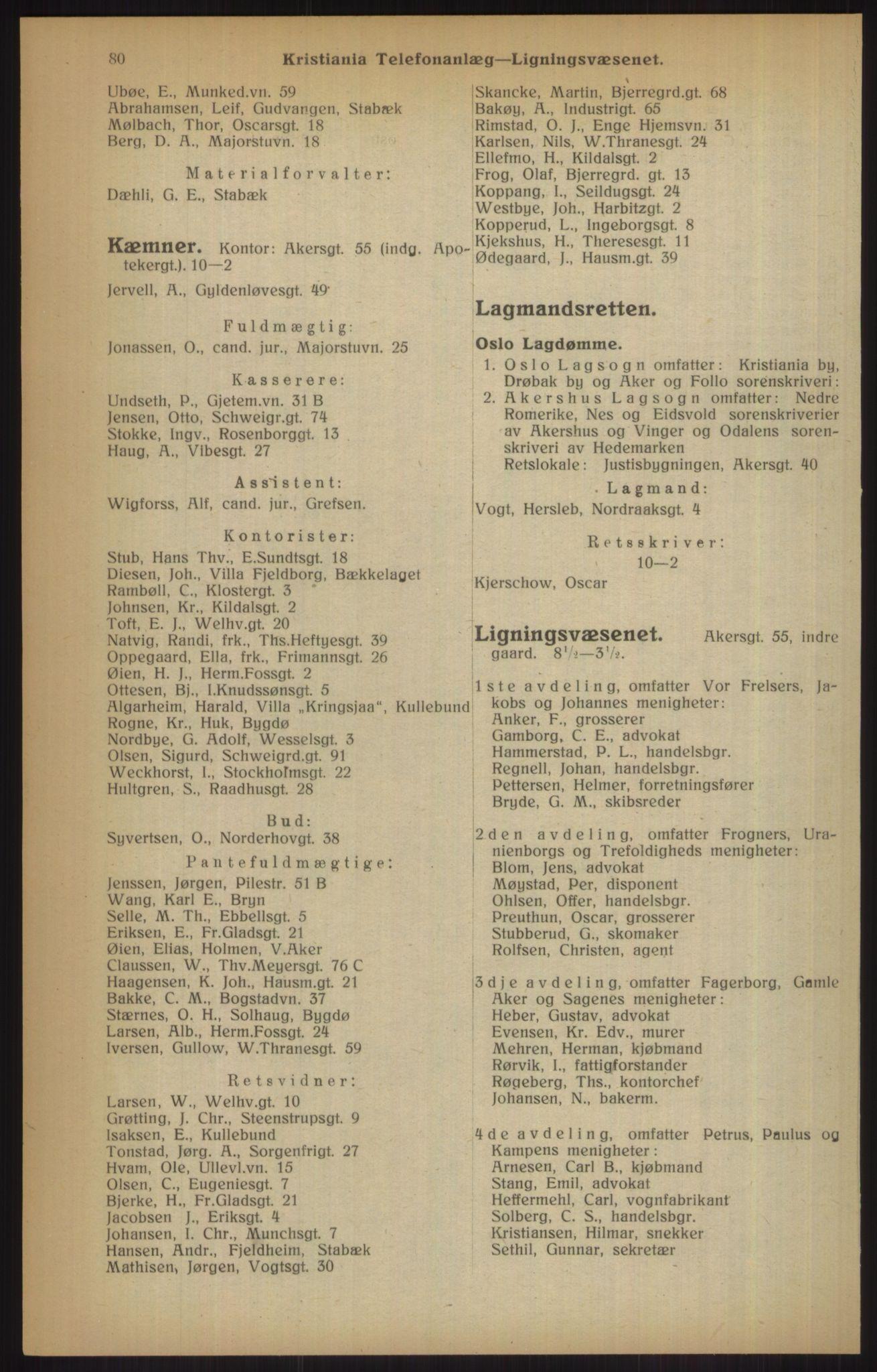 RA, Kristiania adressebok (publikasjon)*, 1915, s. 80