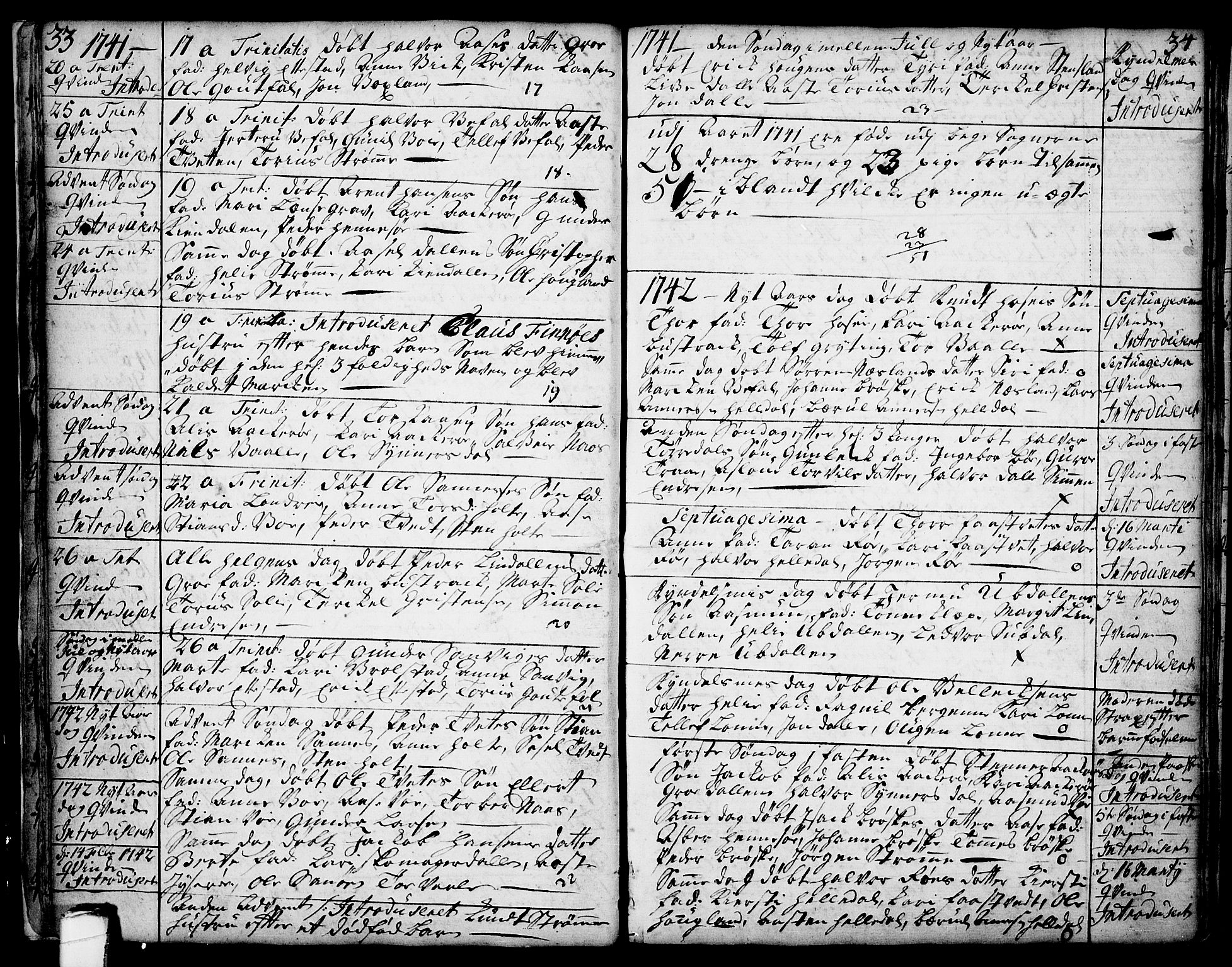 SAKO, Drangedal kirkebøker, F/Fa/L0002: Ministerialbok nr. 2, 1733-1753, s. 33-34
