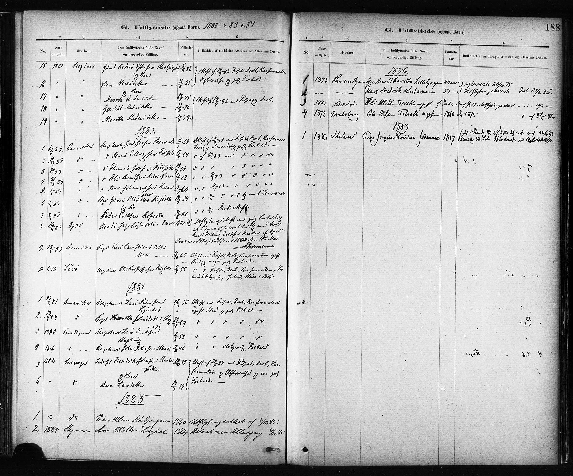 SAT, Ministerialprotokoller, klokkerbøker og fødselsregistre - Sør-Trøndelag, 687/L1002: Ministerialbok nr. 687A08, 1878-1890, s. 188