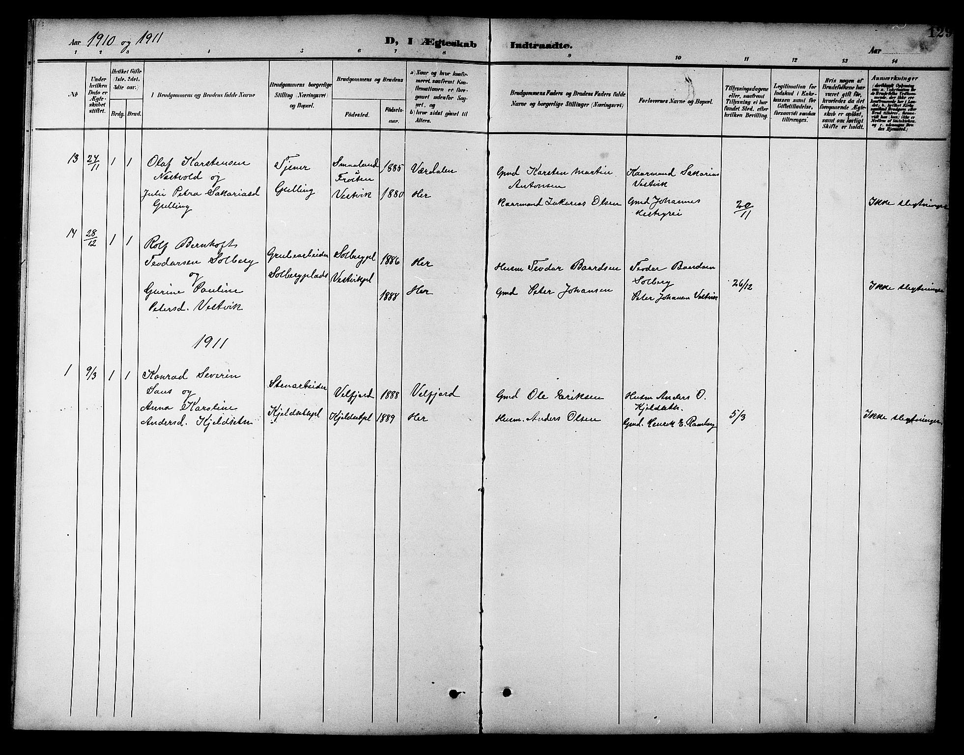 SAT, Ministerialprotokoller, klokkerbøker og fødselsregistre - Nord-Trøndelag, 741/L0401: Klokkerbok nr. 741C02, 1899-1911, s. 129
