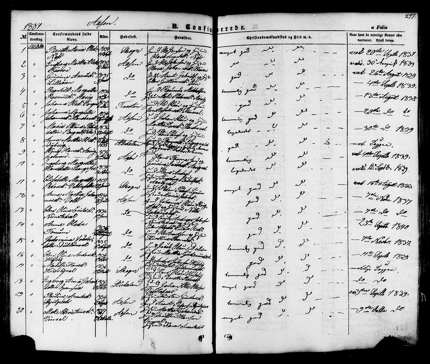 SAT, Ministerialprotokoller, klokkerbøker og fødselsregistre - Nord-Trøndelag, 713/L0116: Ministerialbok nr. 713A07, 1850-1877, s. 297