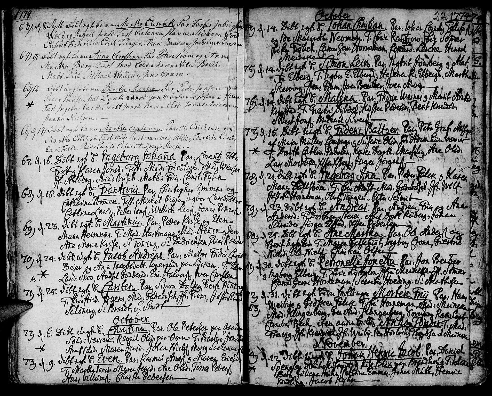 SAT, Ministerialprotokoller, klokkerbøker og fødselsregistre - Sør-Trøndelag, 601/L0039: Ministerialbok nr. 601A07, 1770-1819, s. 22