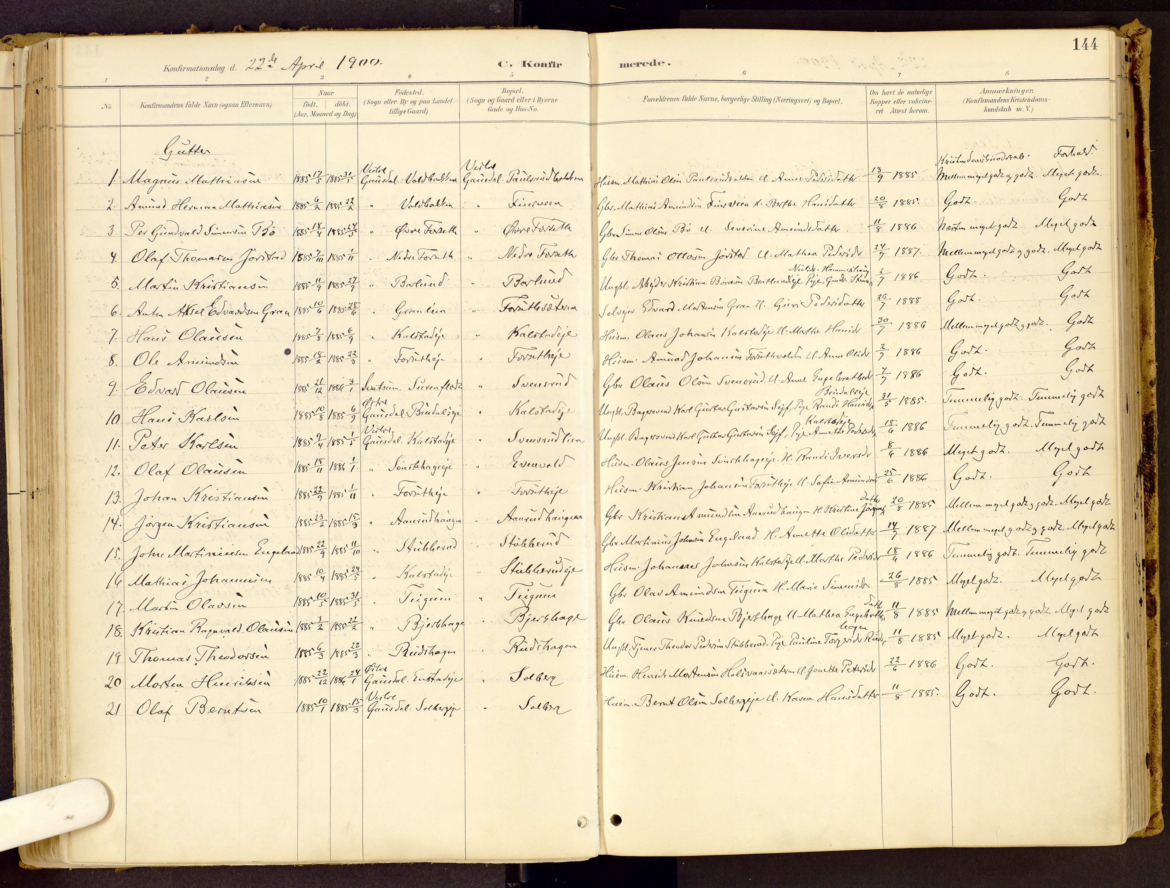 SAH, Vestre Gausdal prestekontor, Ministerialbok nr. 1, 1887-1914, s. 144