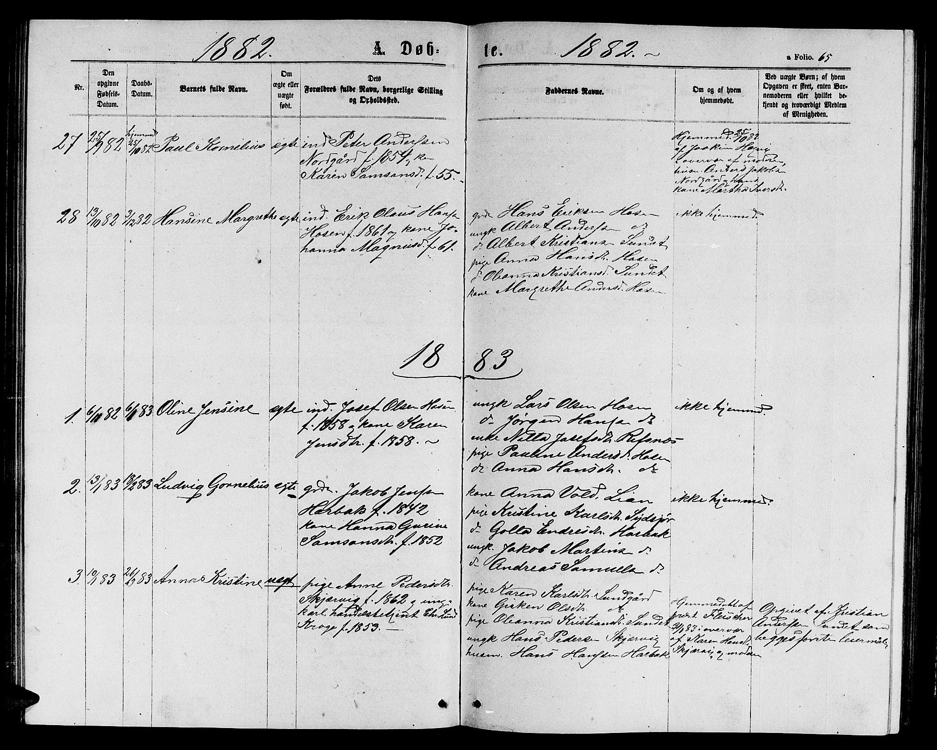 SAT, Ministerialprotokoller, klokkerbøker og fødselsregistre - Sør-Trøndelag, 656/L0695: Klokkerbok nr. 656C01, 1867-1889, s. 65
