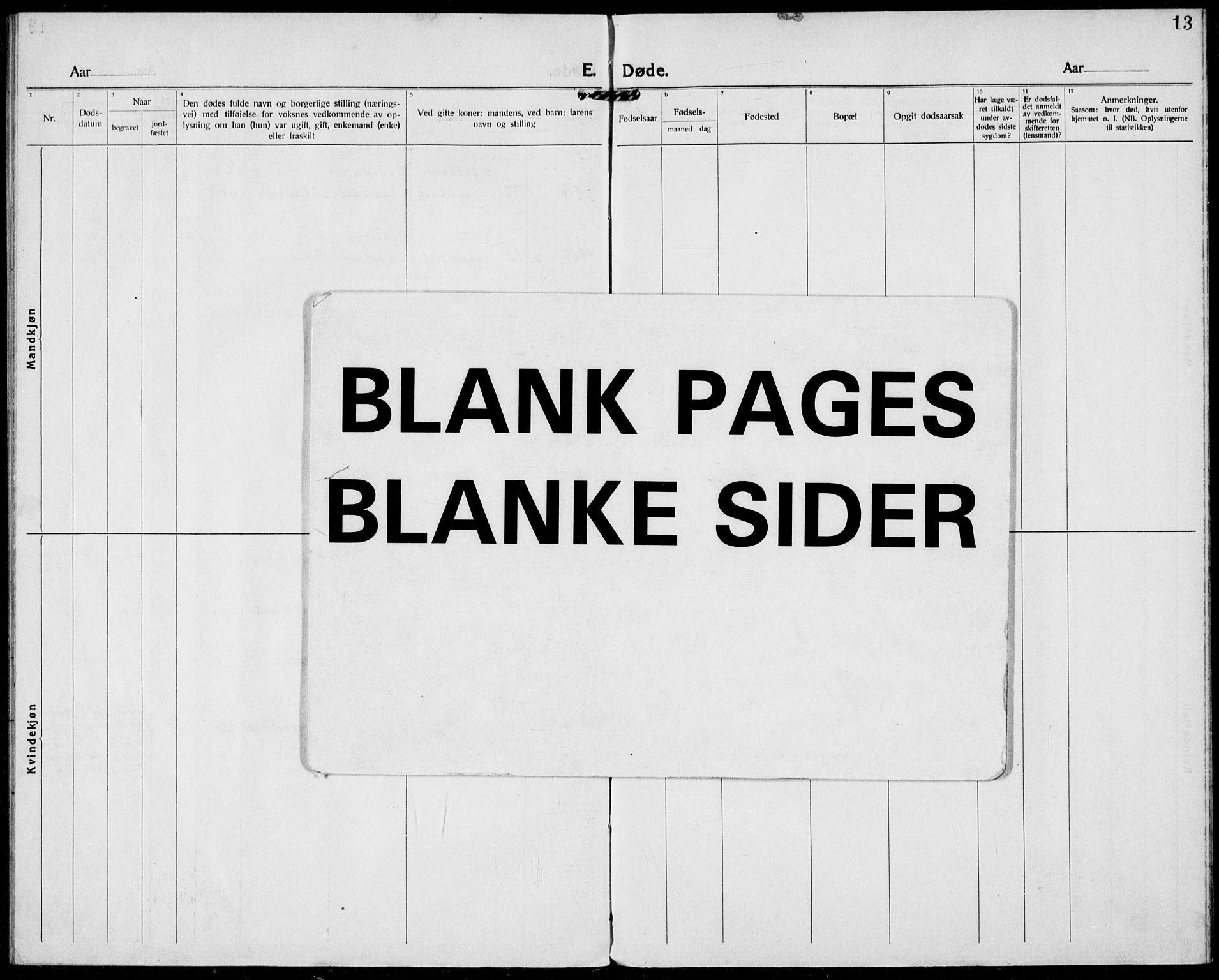 SAKO, Hjartdal kirkebøker, F/Fa/L0012: Ministerialbok nr. I 12, 1923-1930, s. 13