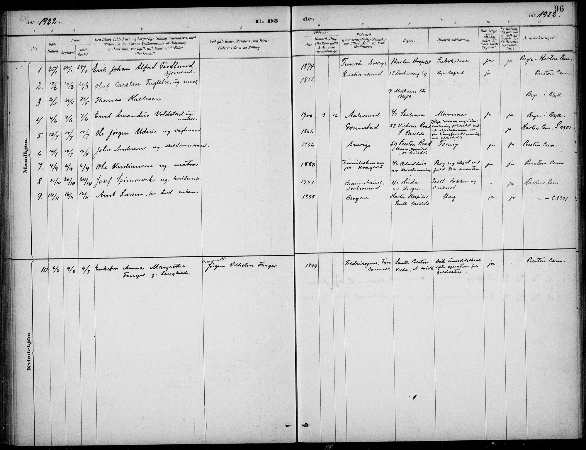 SAB, Den Norske Sjømannsmisjon i utlandet*, Ministerialbok nr. A 2, 1883-1936, s. 96