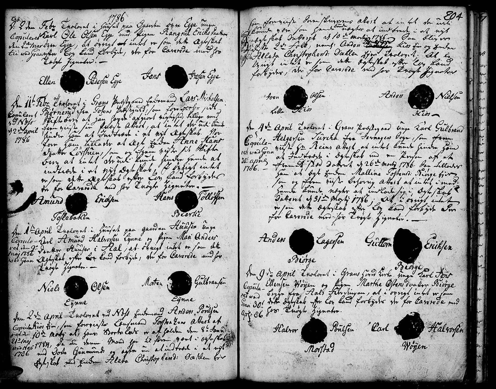 SAH, Gran prestekontor, Ministerialbok nr. 5, 1776-1788, s. 204