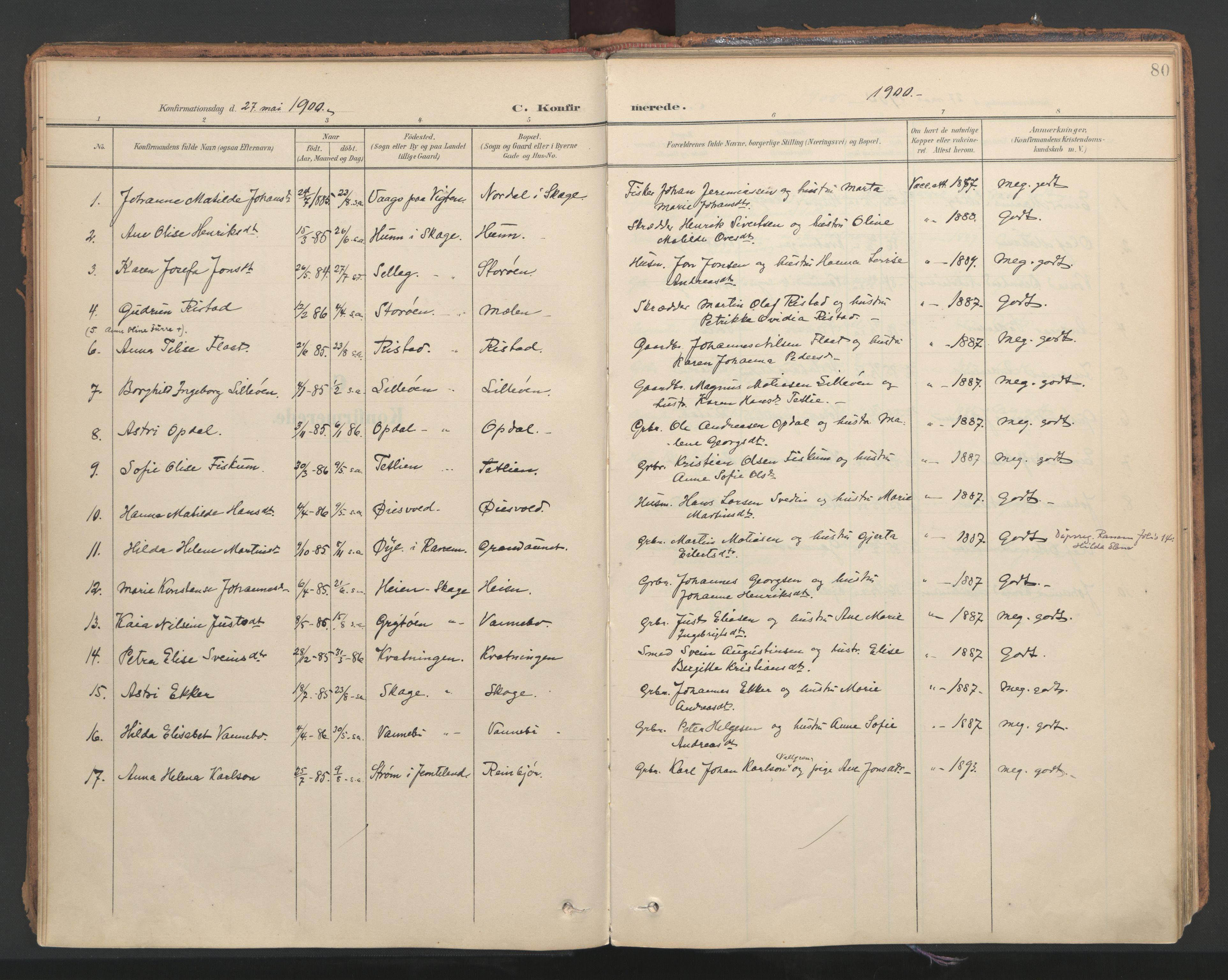 SAT, Ministerialprotokoller, klokkerbøker og fødselsregistre - Nord-Trøndelag, 766/L0564: Ministerialbok nr. 767A02, 1900-1932, s. 80