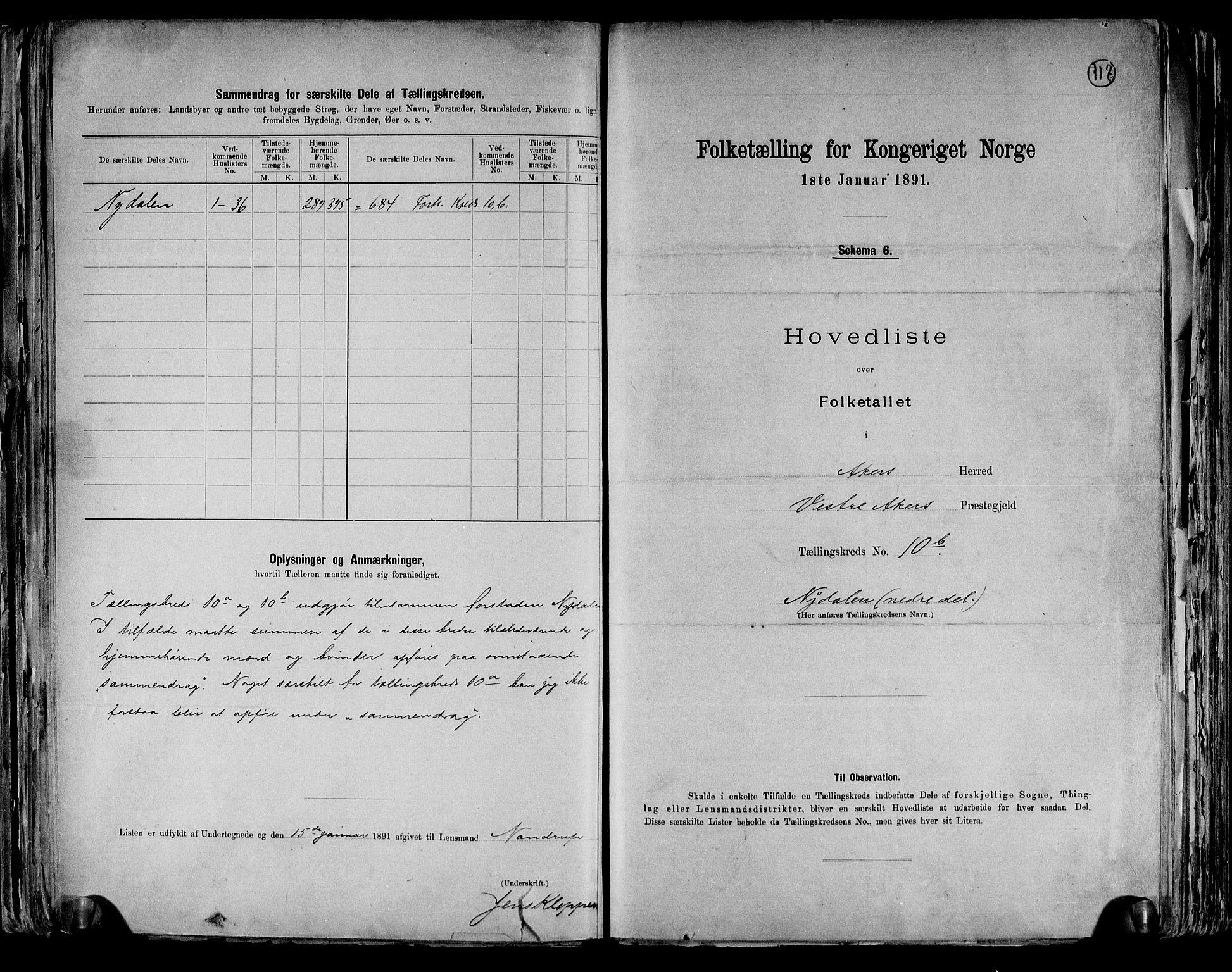 RA, Folketelling 1891 for 0218 Aker herred, 1891, s. 36