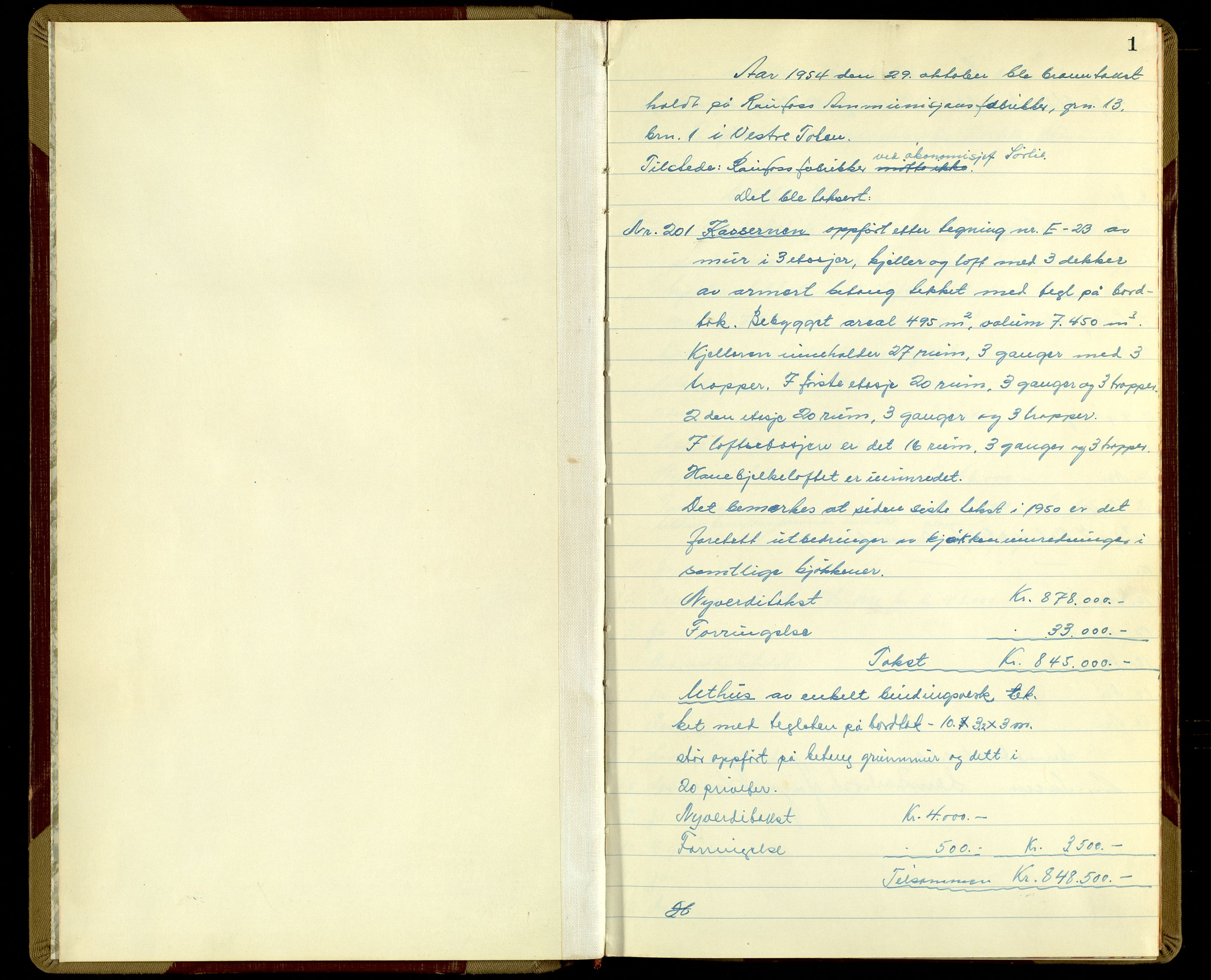 SAH, Norges Brannkasse, Vestre Toten, 1954, s. 1