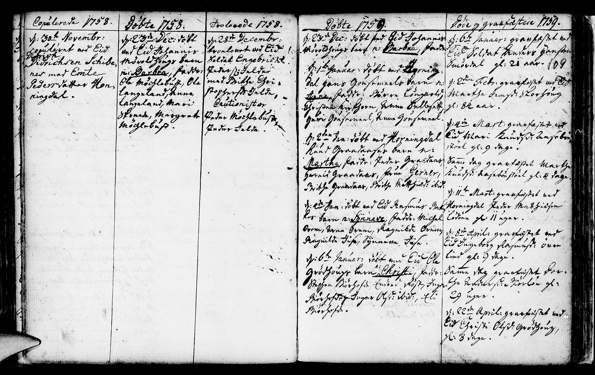 SAB, Eid Sokneprestembete, H/Haa: Ministerialbok nr. A 2, 1741-1769, s. 109